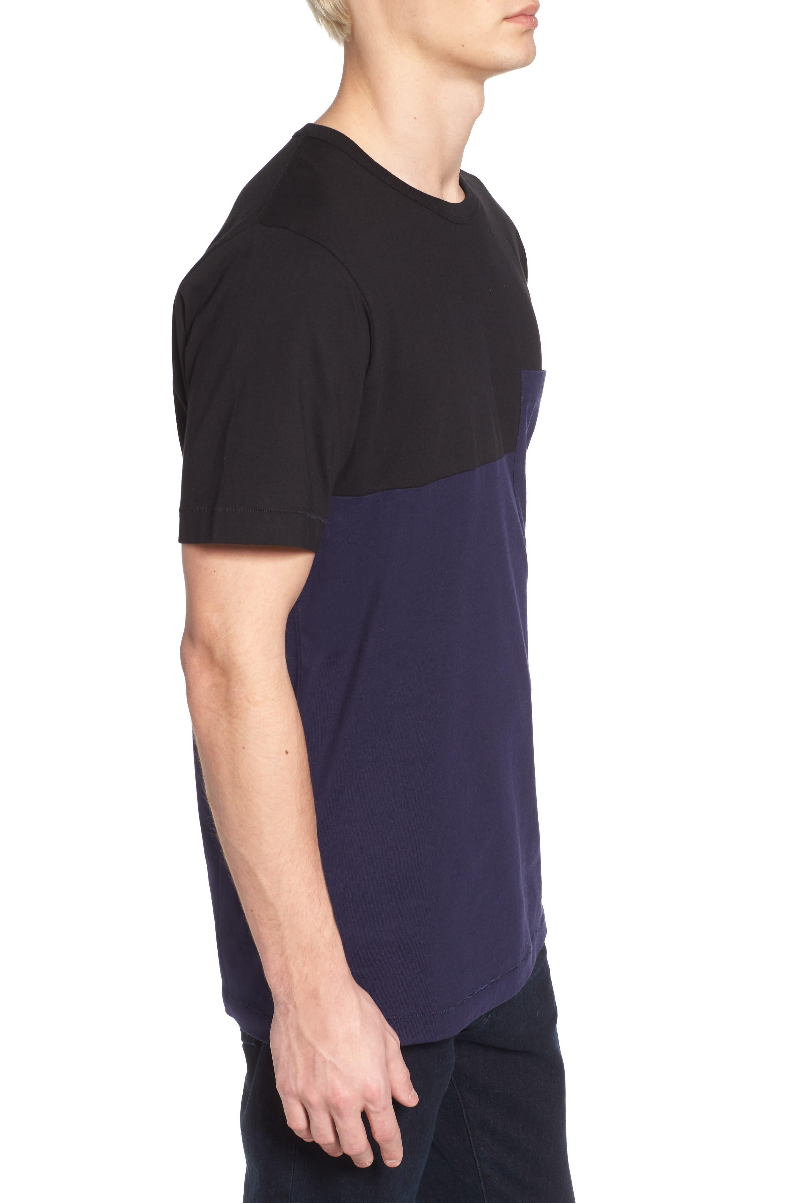 Half Stripe Crewneck T-Shirt,                             Alternate thumbnail 3, color,                             Black/ Blue Blood