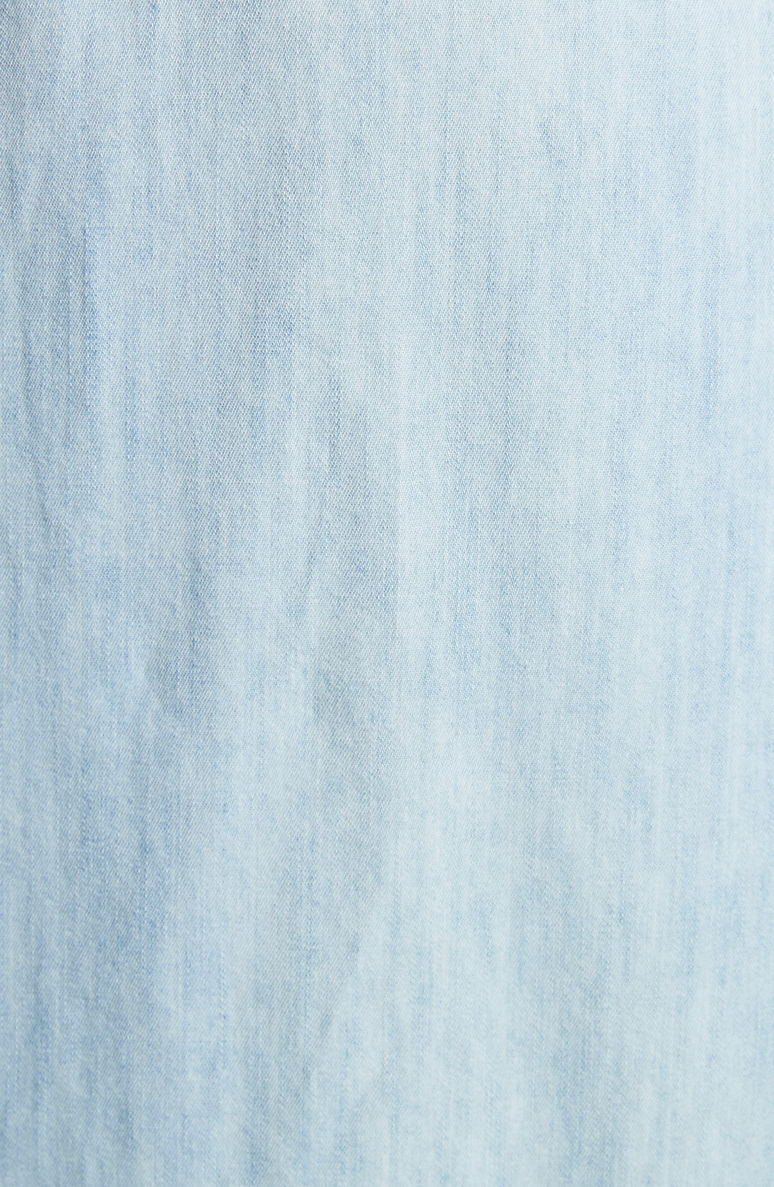 Awel Ruffle Chambray Shirtdress,                             Alternate thumbnail 5, color,                             Western Fade