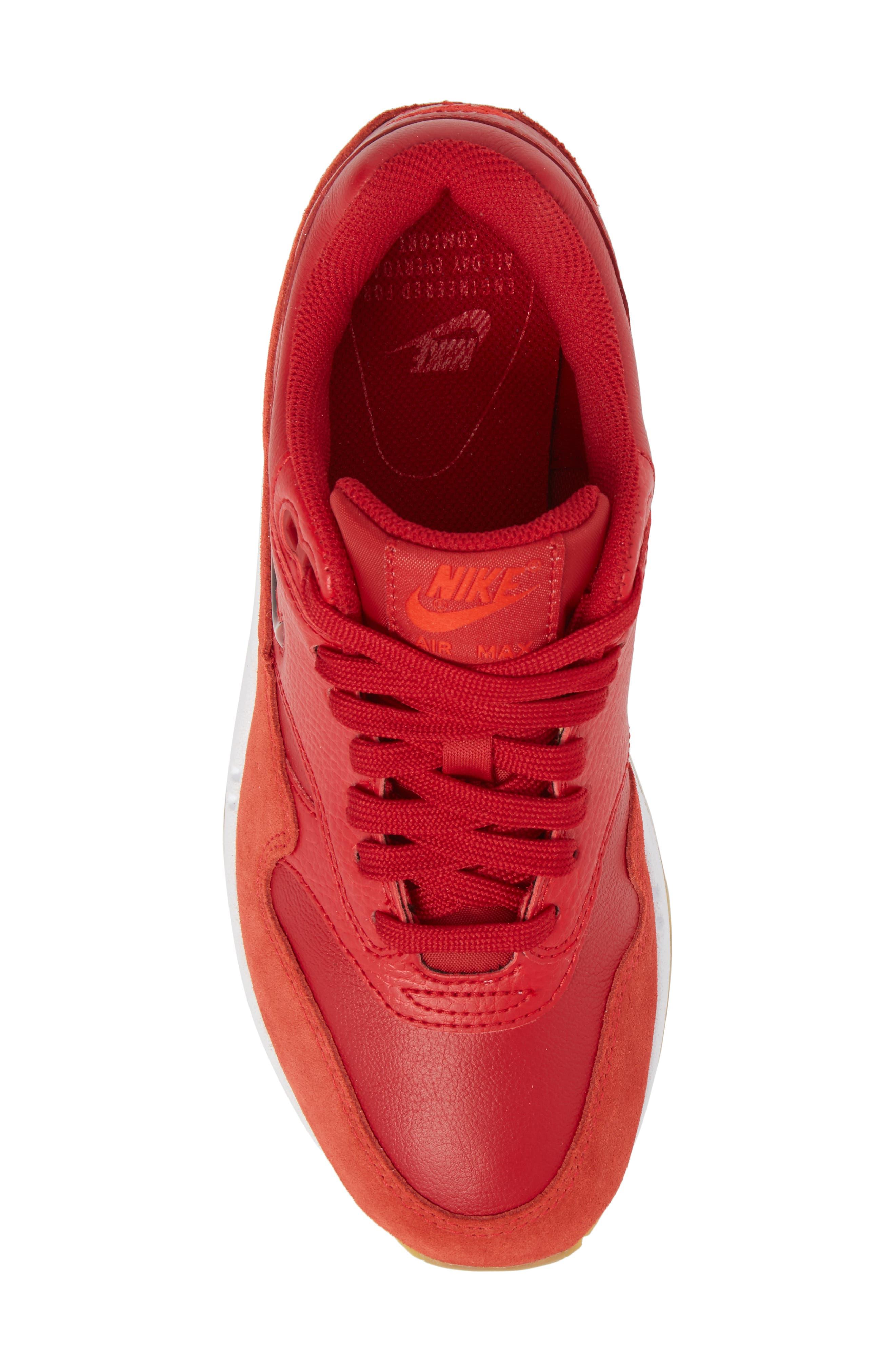 Air Max 1 Premium SC Sneaker,                             Alternate thumbnail 6, color,                             Gym Red/ Gym Red