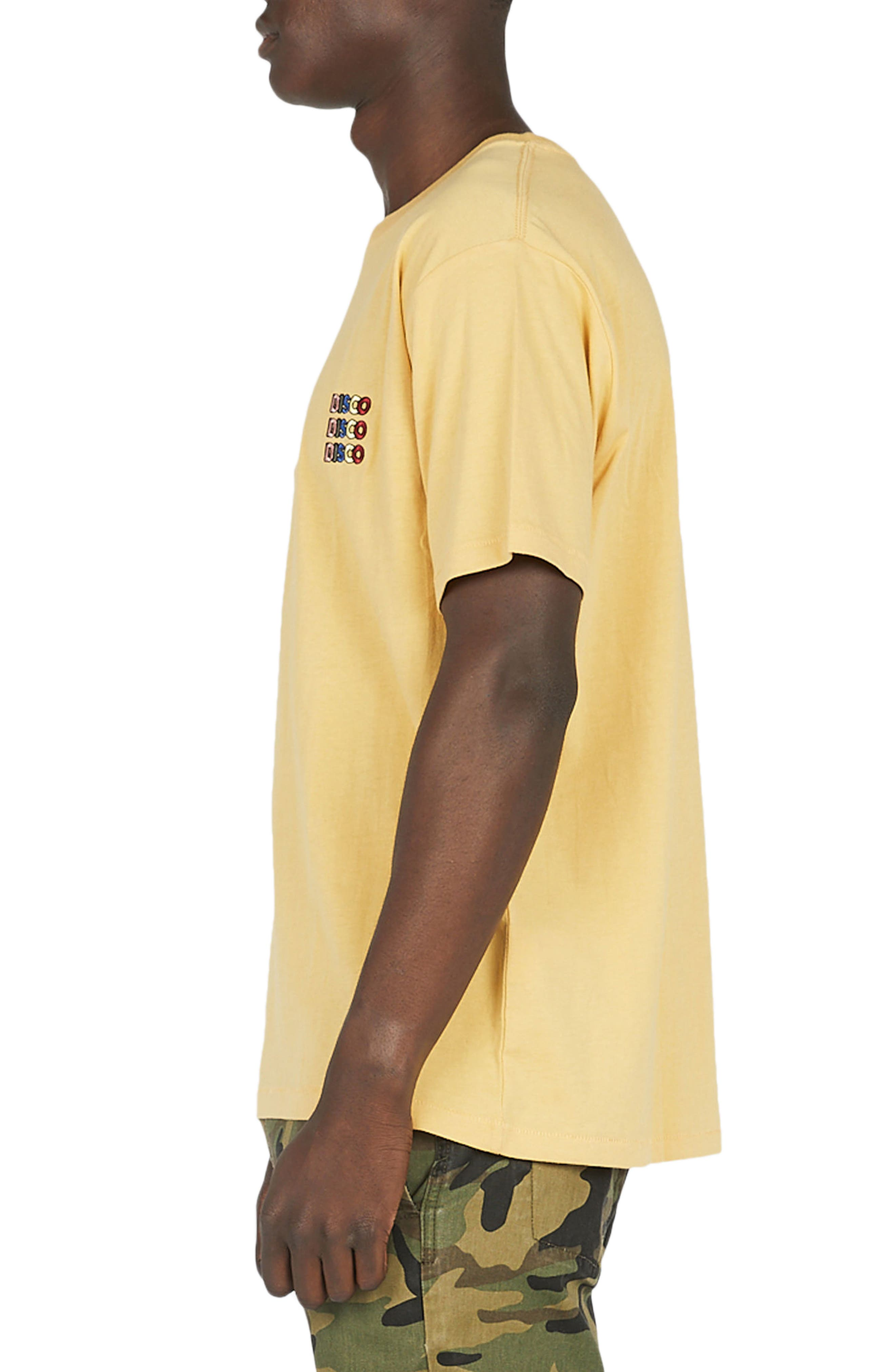 Disco Embroidered T-Shirt,                             Alternate thumbnail 3, color,                             Mustard