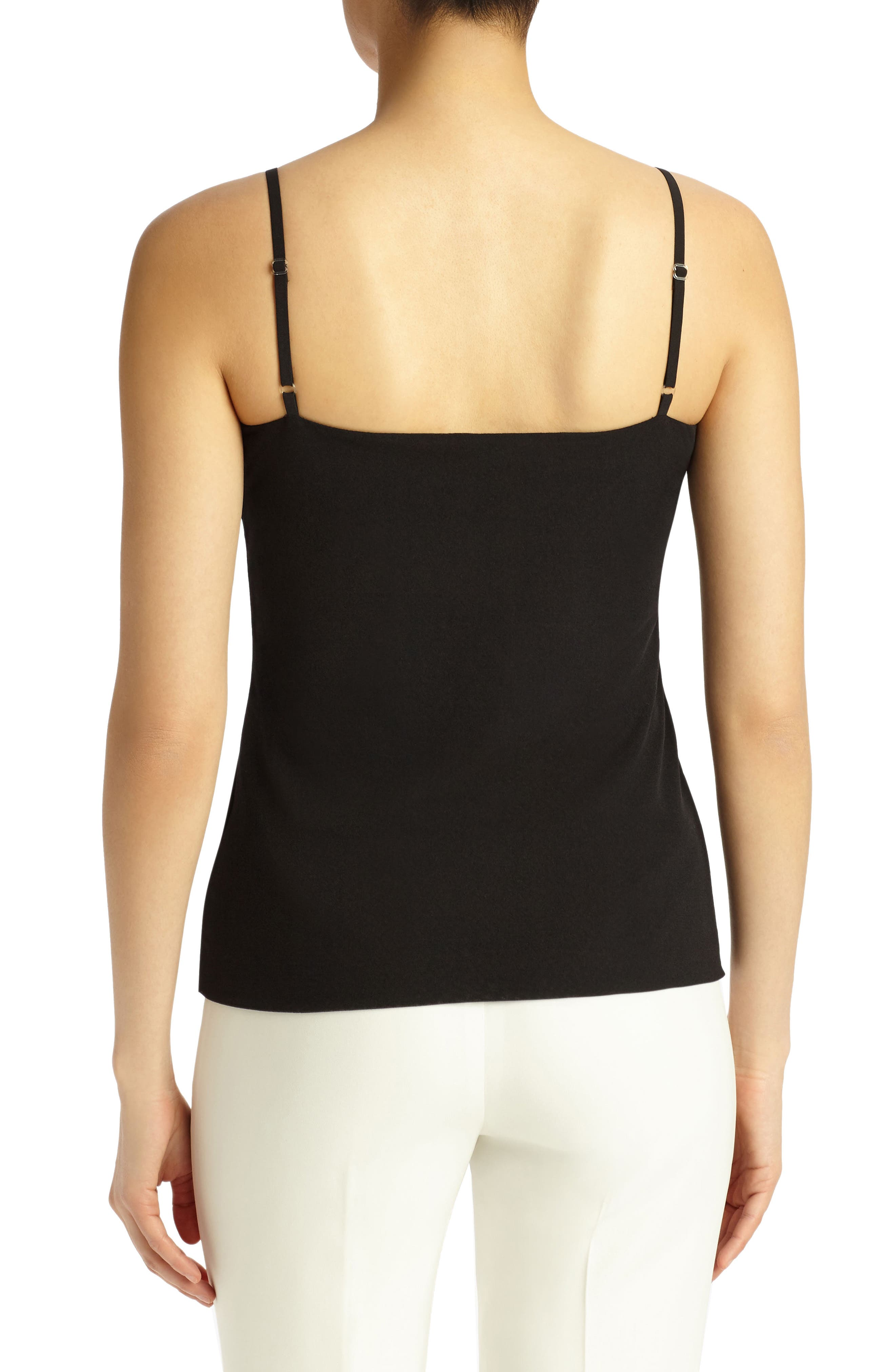 Mesh Jersey Camisole,                             Alternate thumbnail 2, color,                             Black