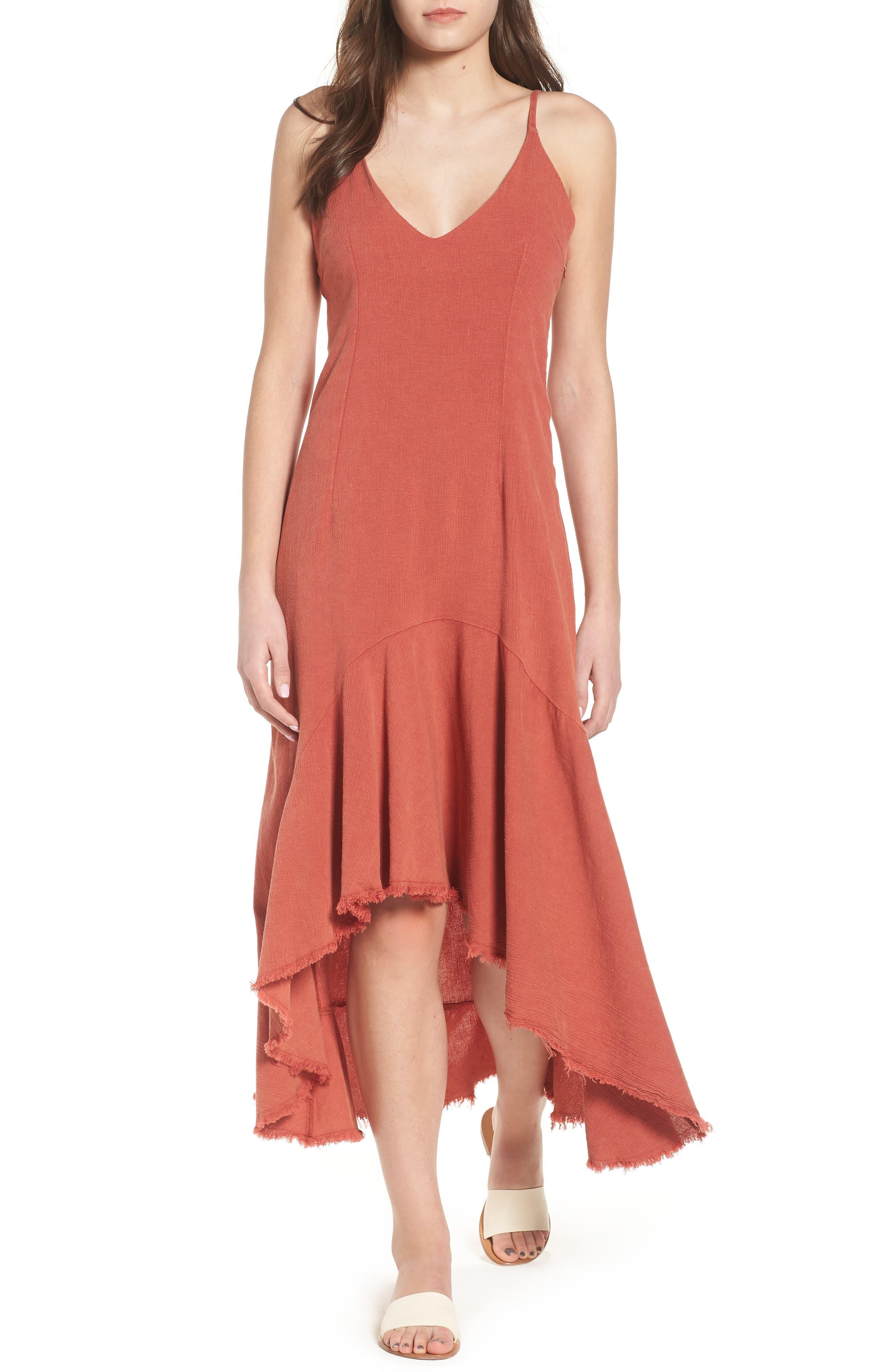 Meet Me in Dreams Flutter Hem Dress,                         Main,                         color, Burnt Orange