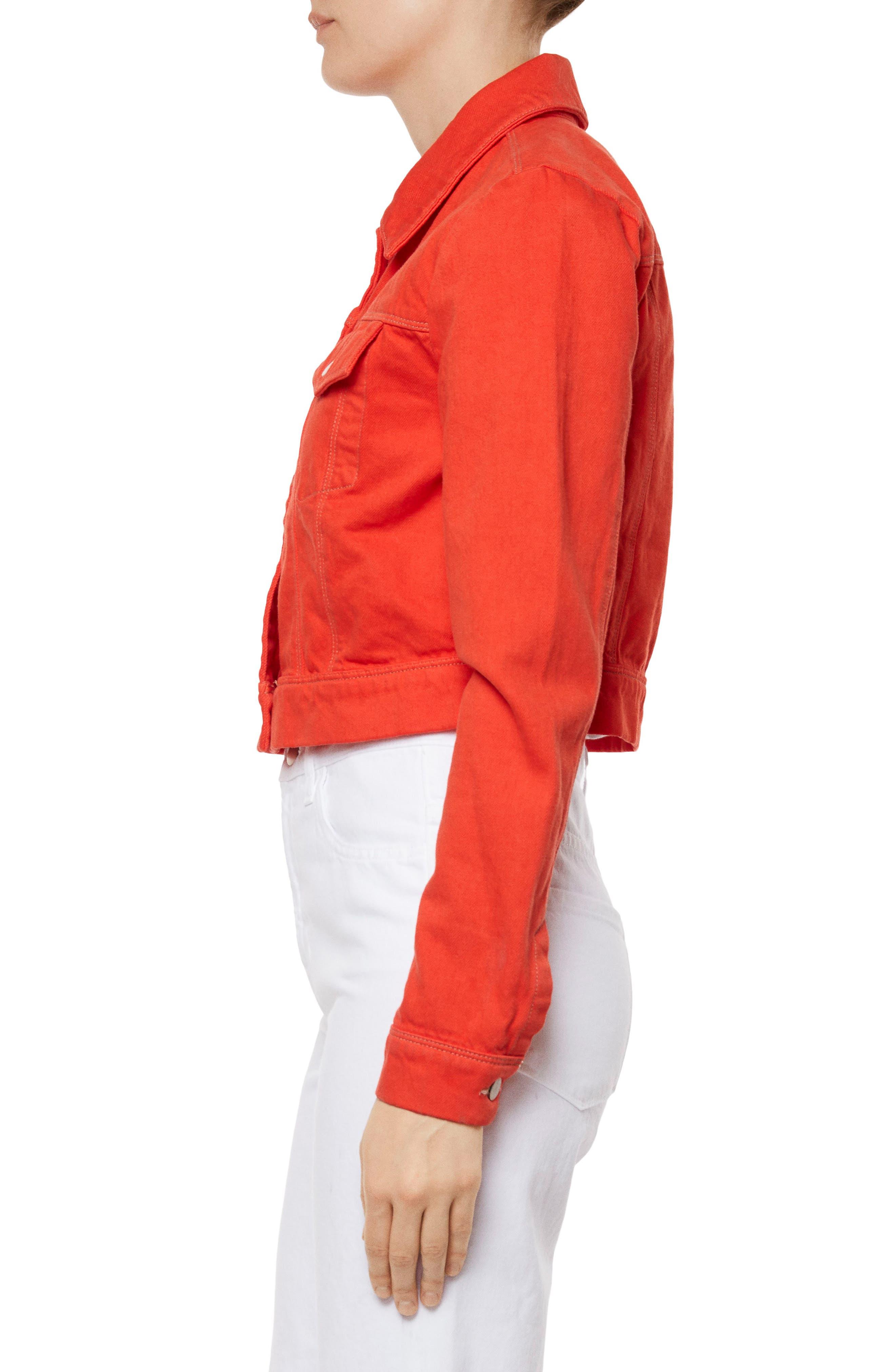 Faye Crop Denim Jacket,                             Alternate thumbnail 3, color,                             Bright Coral