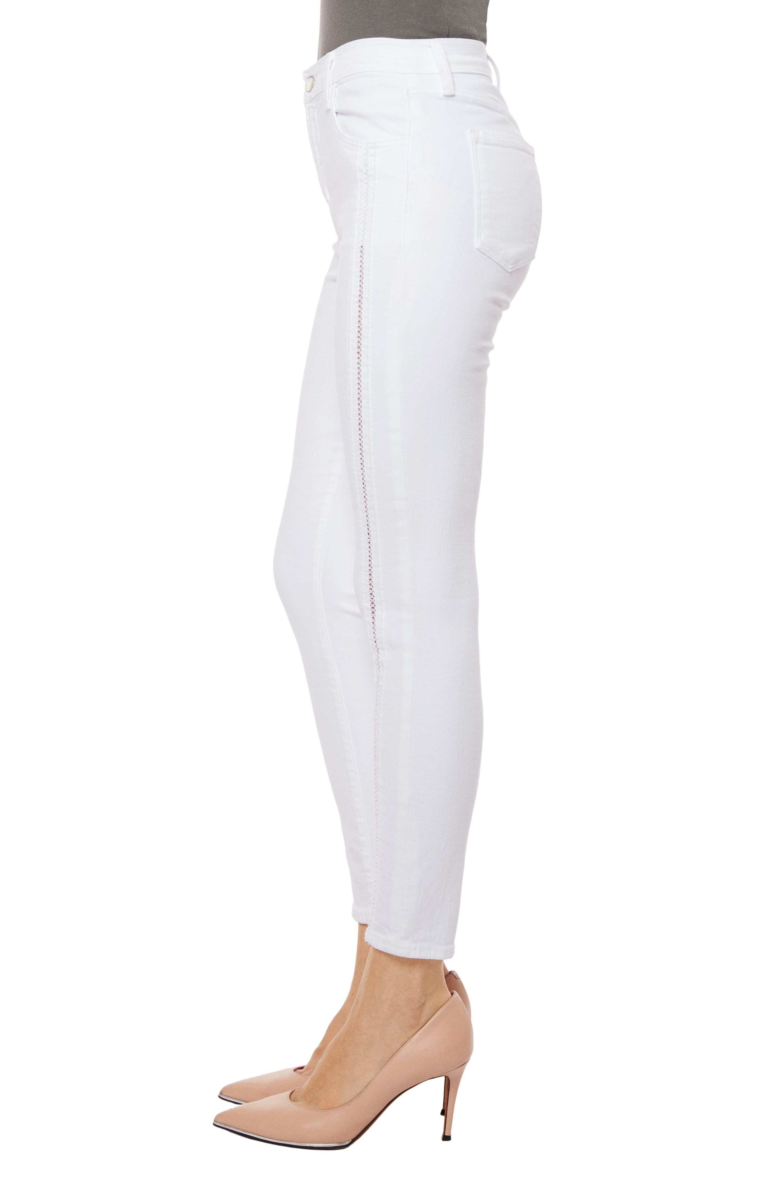Alana High Waist Crop Skinny Jeans,                             Alternate thumbnail 4, color,                             White Ladder Lace