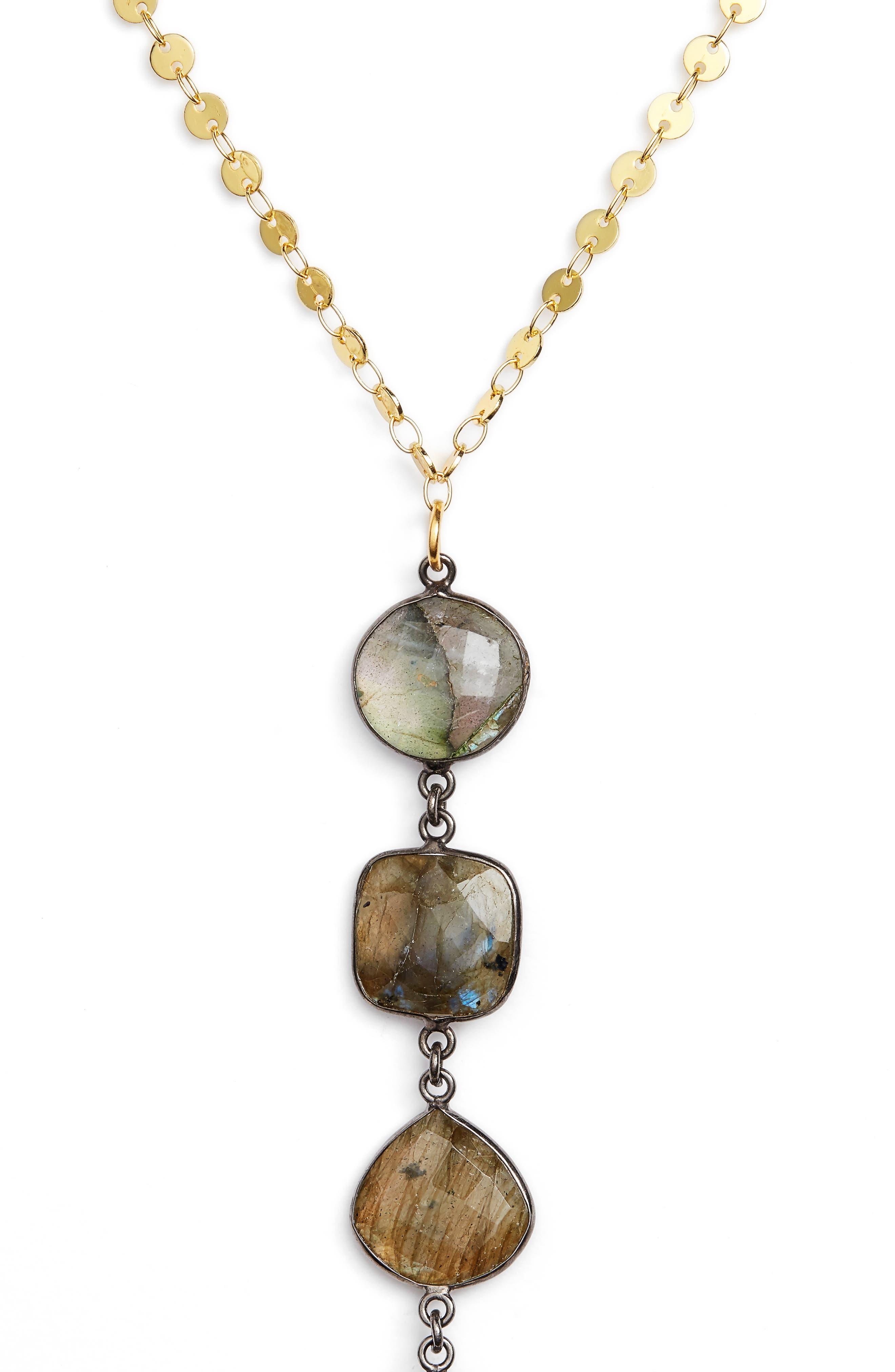 Mystere Labradorite Y-Necklace,                             Alternate thumbnail 2, color,                             Gold/ Grey