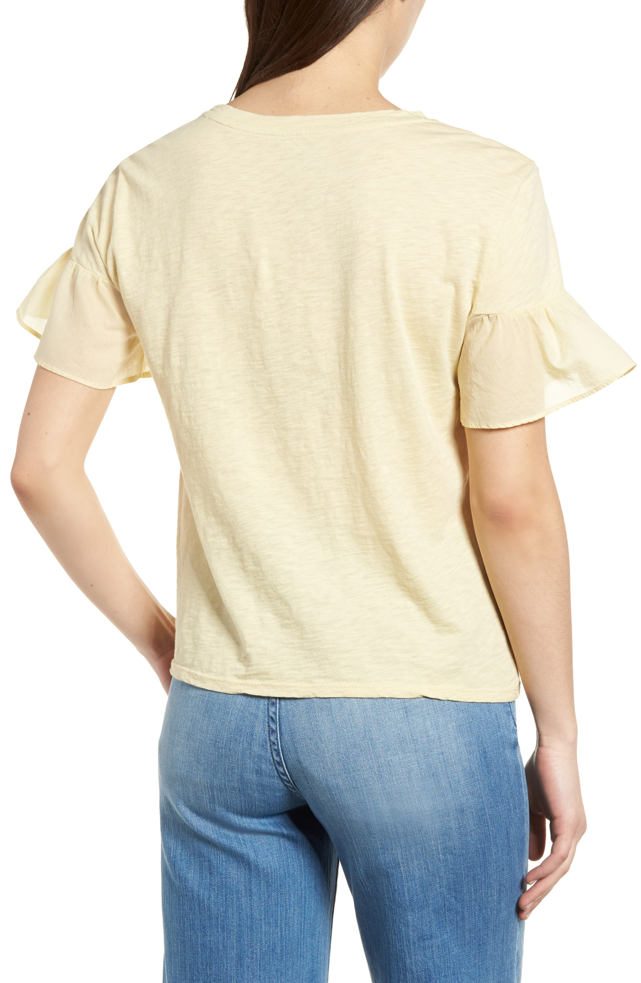 Slub Cotton Voile Sleeve Tee,                             Alternate thumbnail 2, color,                             Chick Yellow