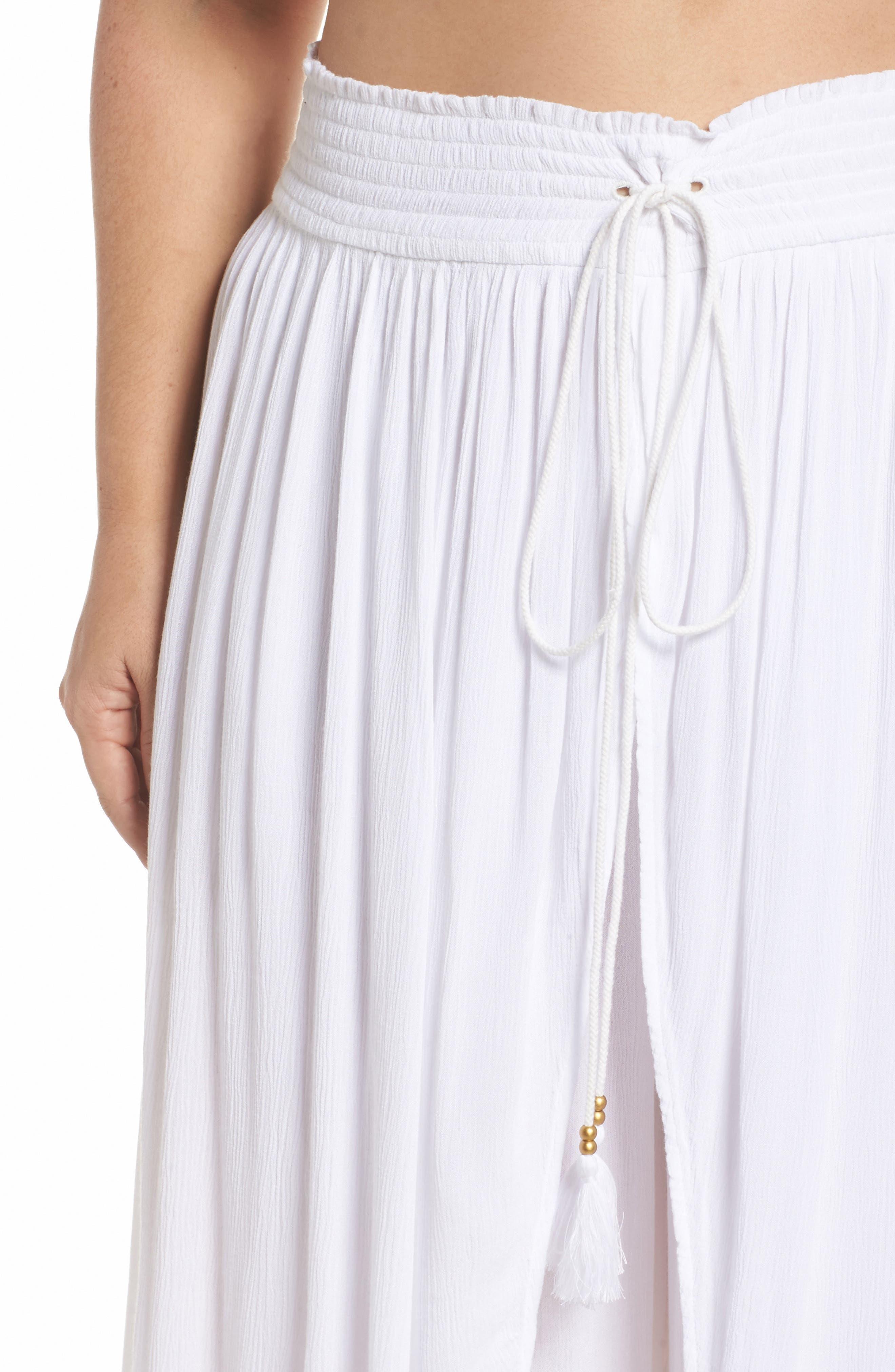 Gauze Cover-Up Pants,                             Alternate thumbnail 4, color,                             White