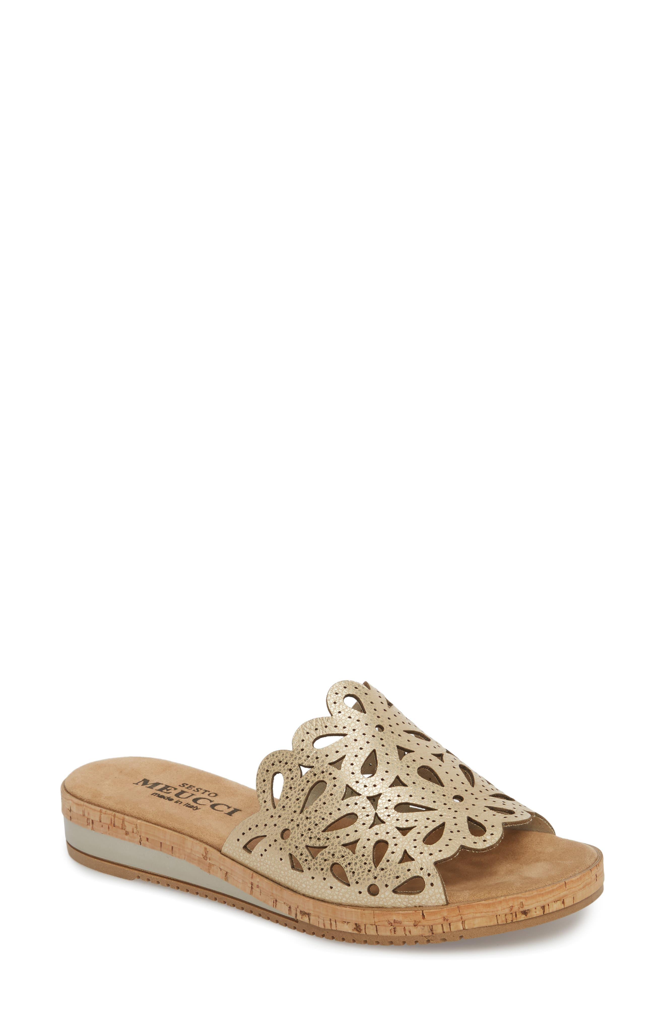 Selina Slide Sandal,                         Main,                         color, Platino Leather