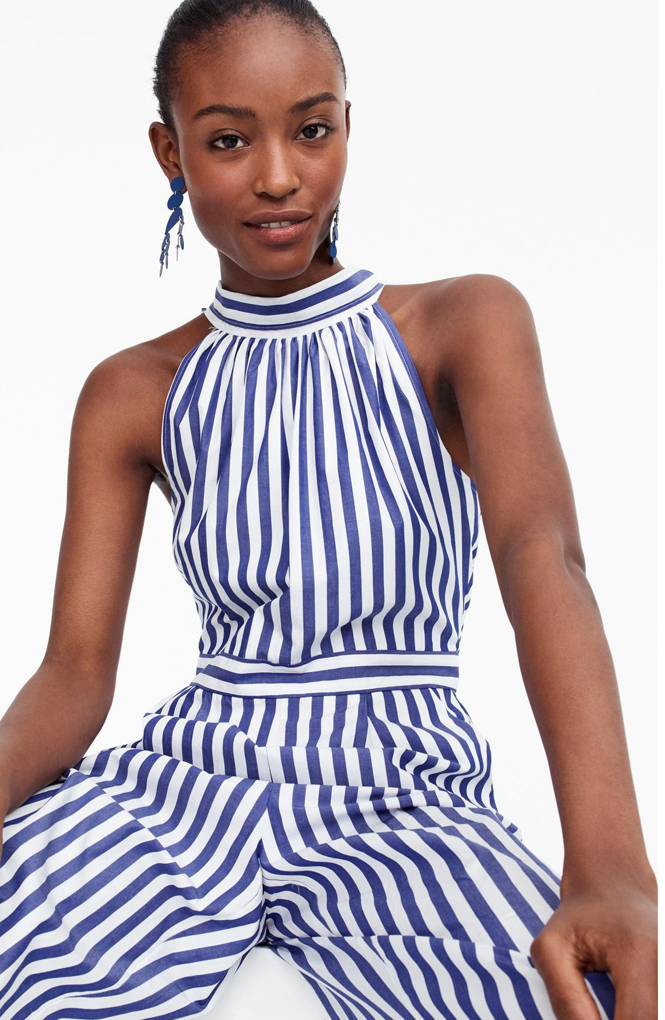 J.Crew Striped Halter Jumpsuit,                             Alternate thumbnail 4, color,                             Tushar Stripe Lighthouse