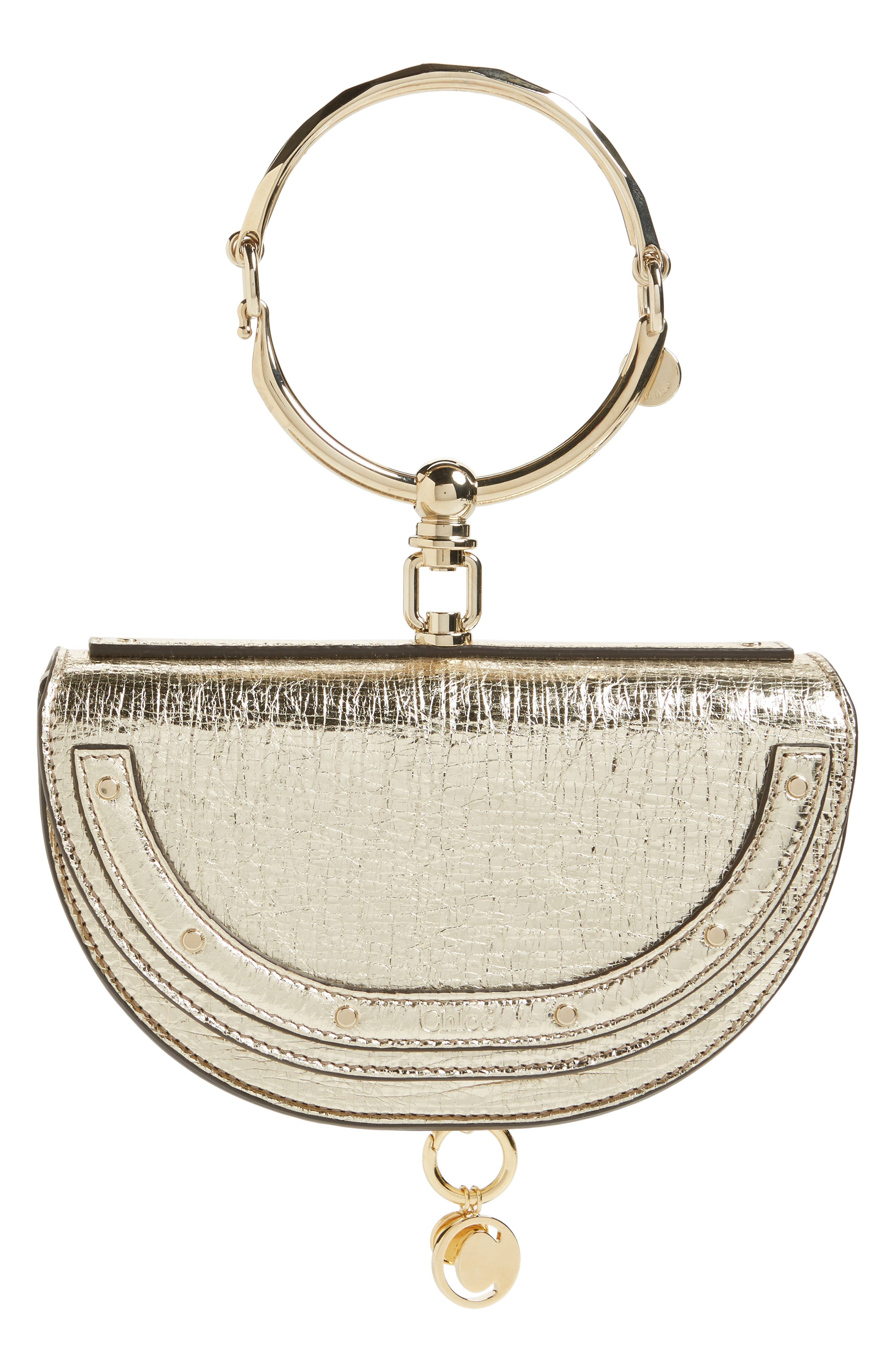 Small Nile Bracelet Calfskin Leather Minaudiere,                             Main thumbnail 1, color,                             Nr308 Off White