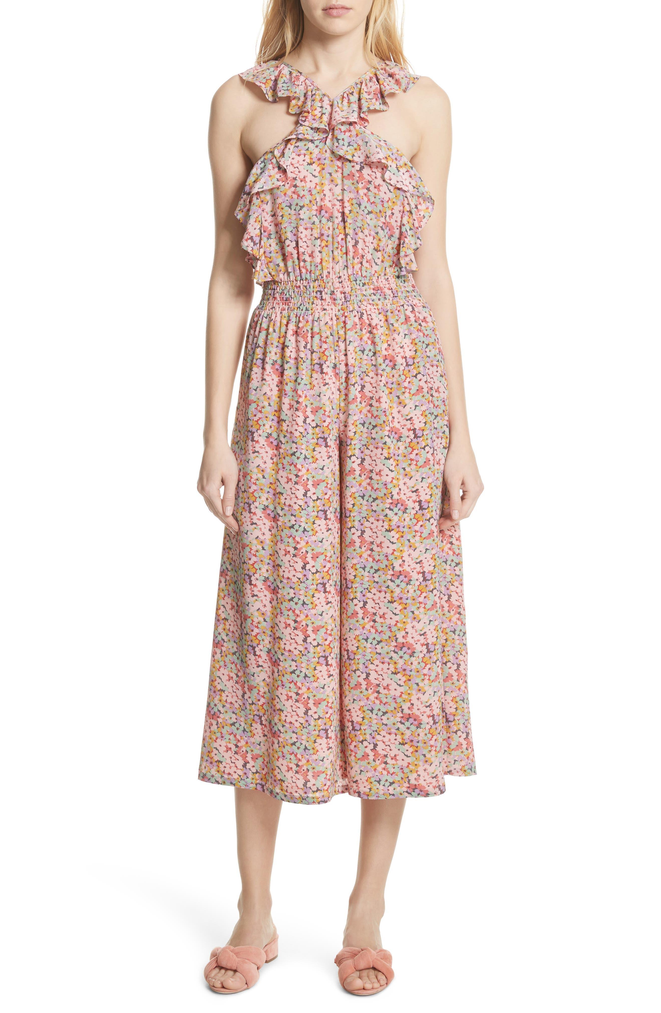 Margo Halter Top Floral Silk Jumpsuit,                             Main thumbnail 1, color,                             Multi Combo