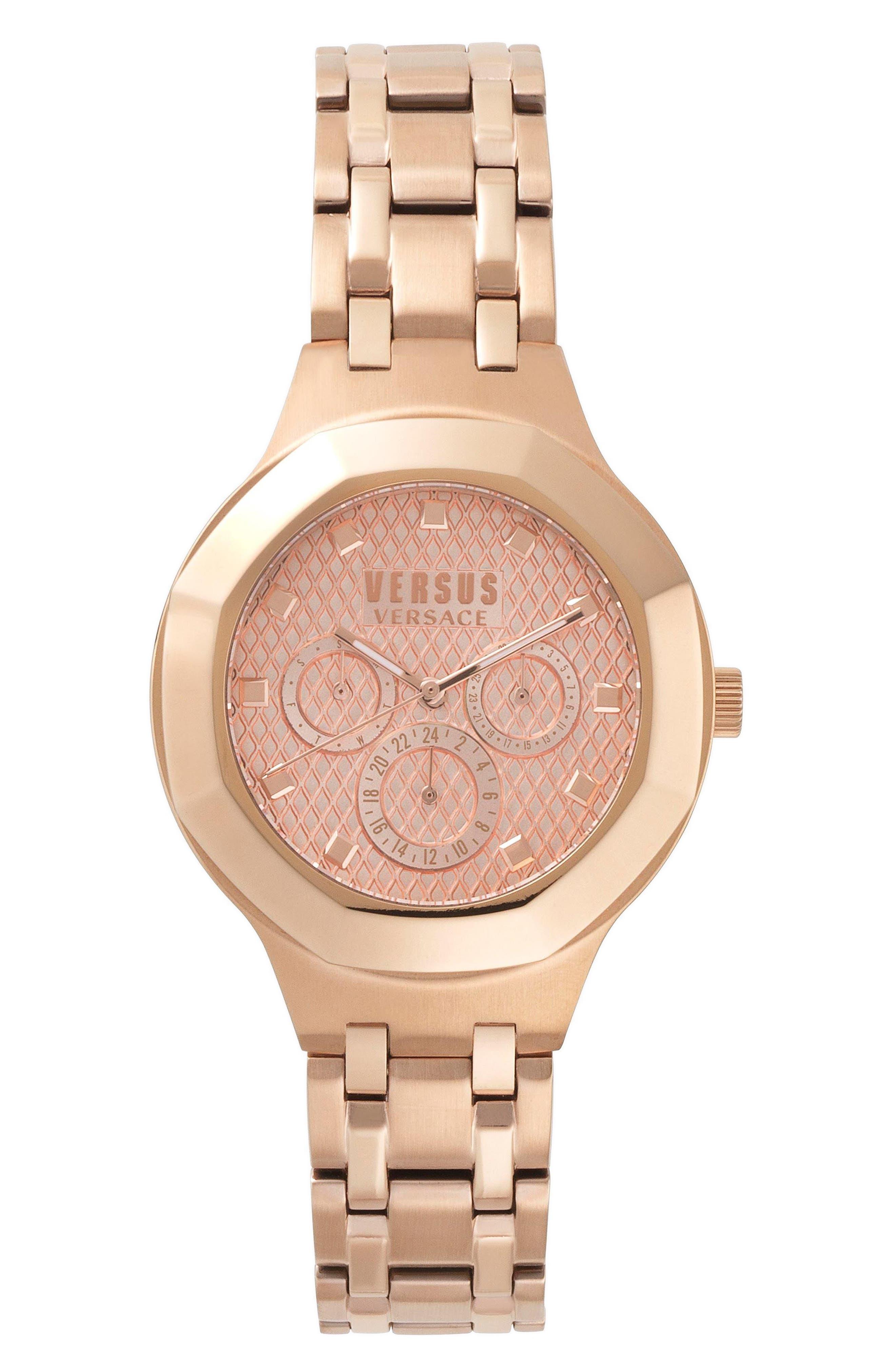 VERSUS by Versace Laguna City Multifunction Bracelet Watch, 40mm,                             Main thumbnail 1, color,                             Rose Gold