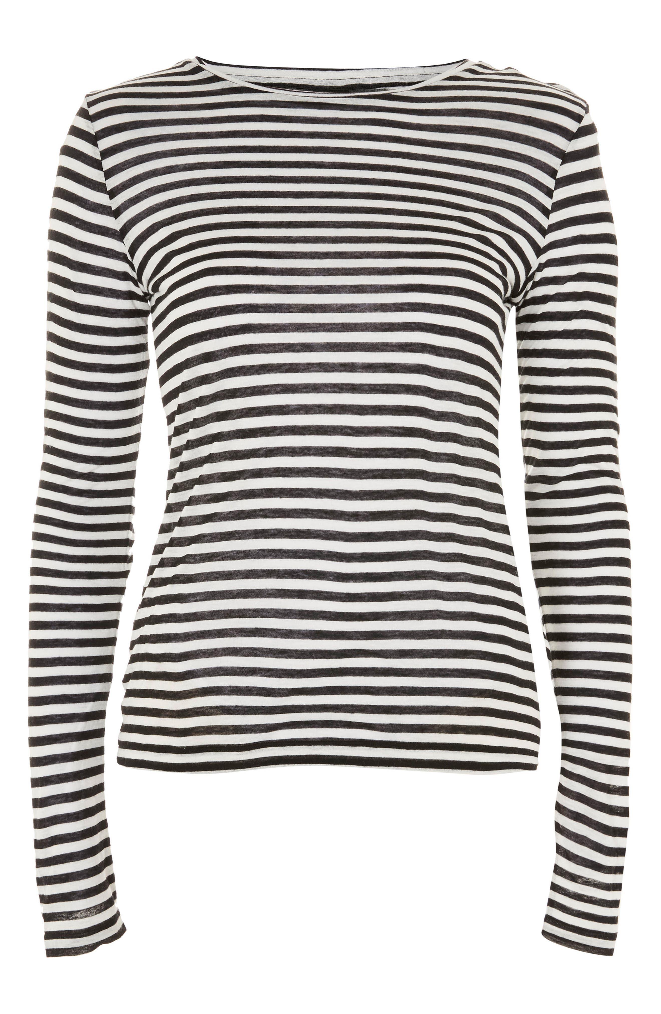 Topshop Stripe Slub Shirt,                             Main thumbnail 1, color,                             Black Multi