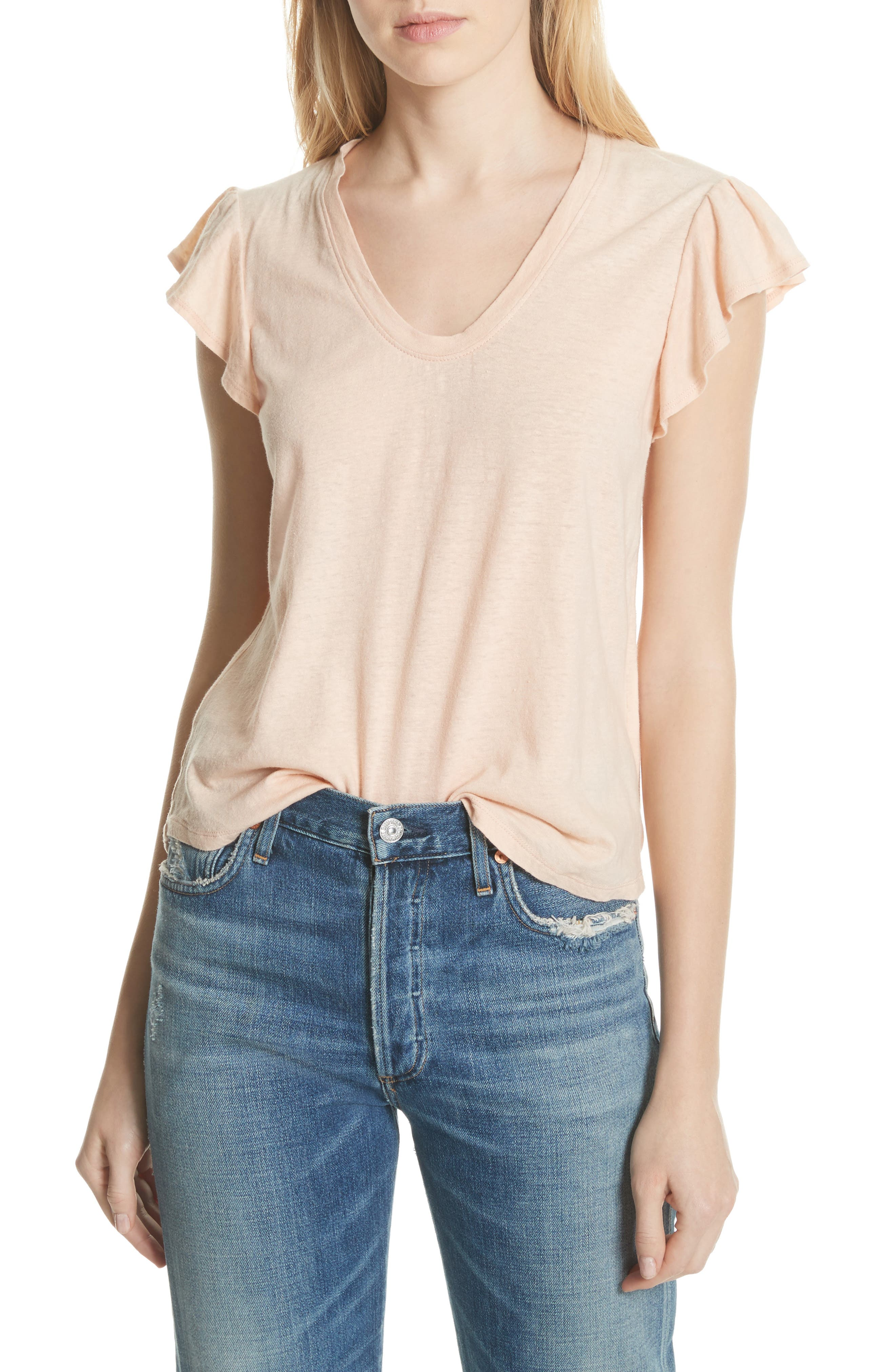 Linen & Cotton Ruffle Sleeve Tee,                             Main thumbnail 1, color,                             Rose Cloud