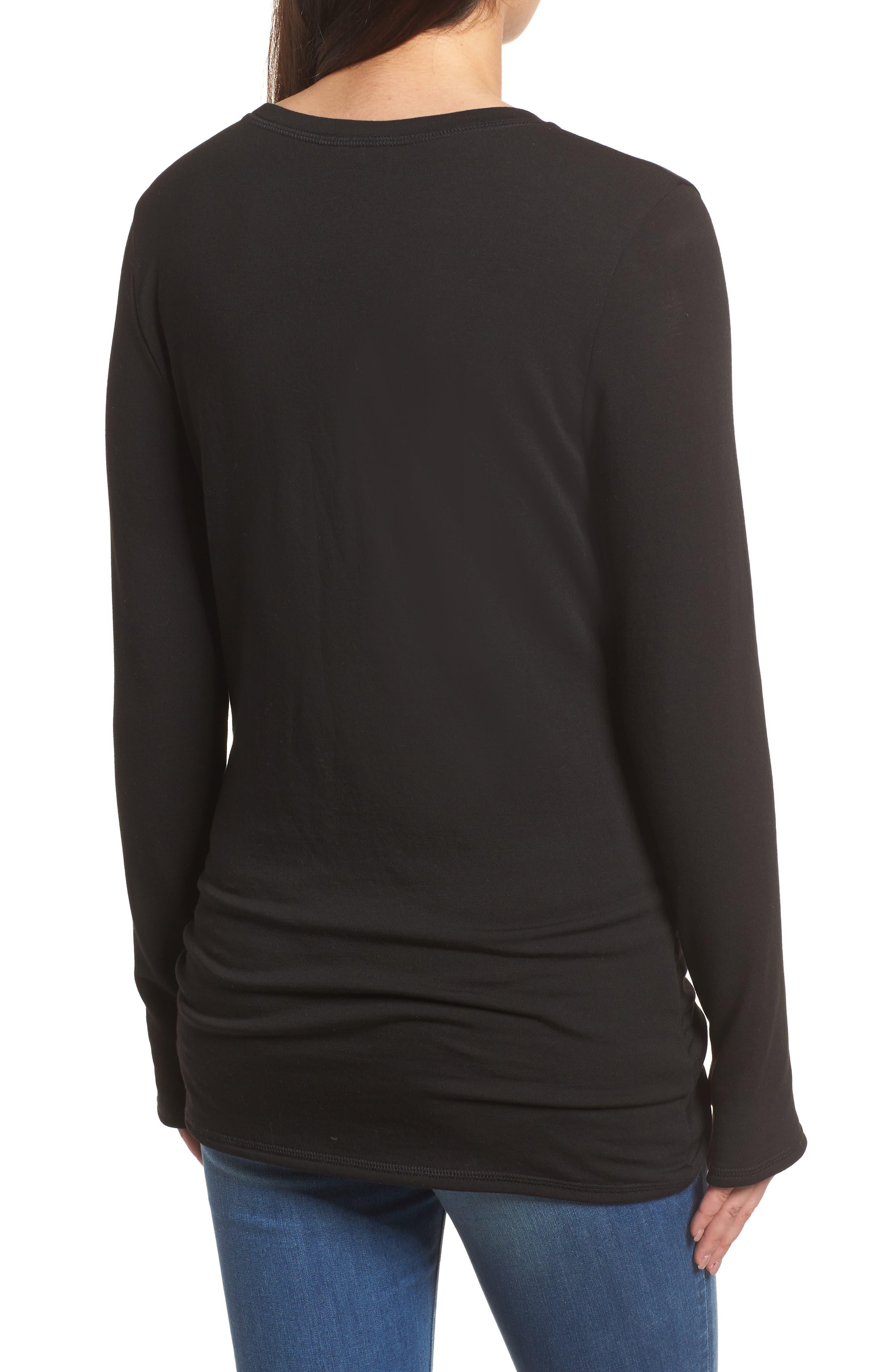 Off-Duty Tie Front Sweatshirt,                             Alternate thumbnail 2, color,                             Black