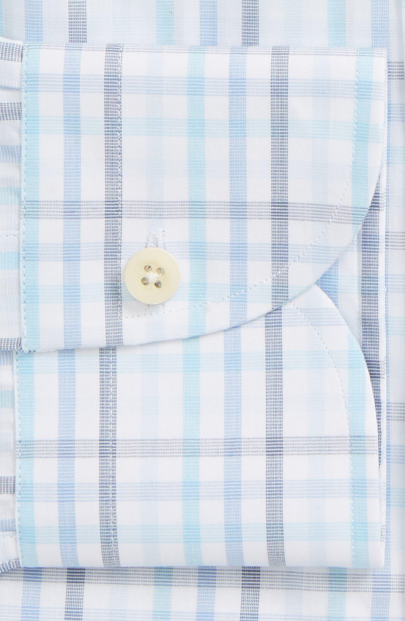 Pelton Slim Fit Check Dress Shirt,                             Alternate thumbnail 5, color,                             Turquoise/ Aqua