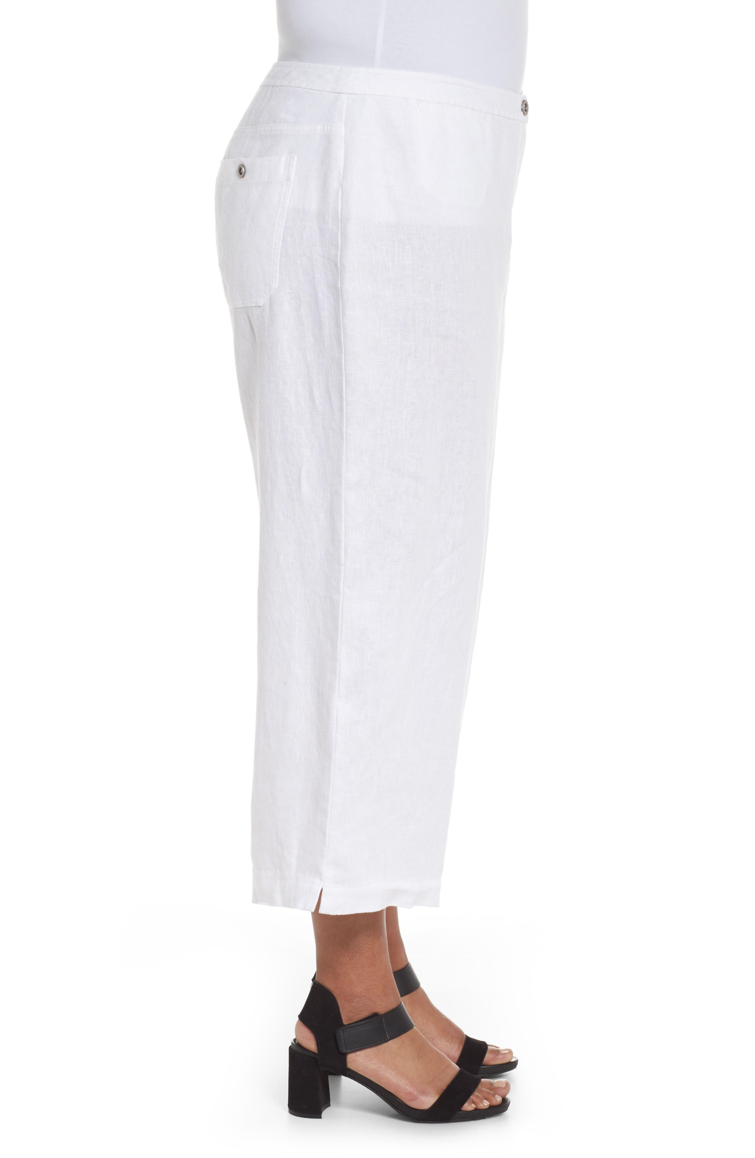 Wide Leg Crop Pants,                             Alternate thumbnail 3, color,                             White
