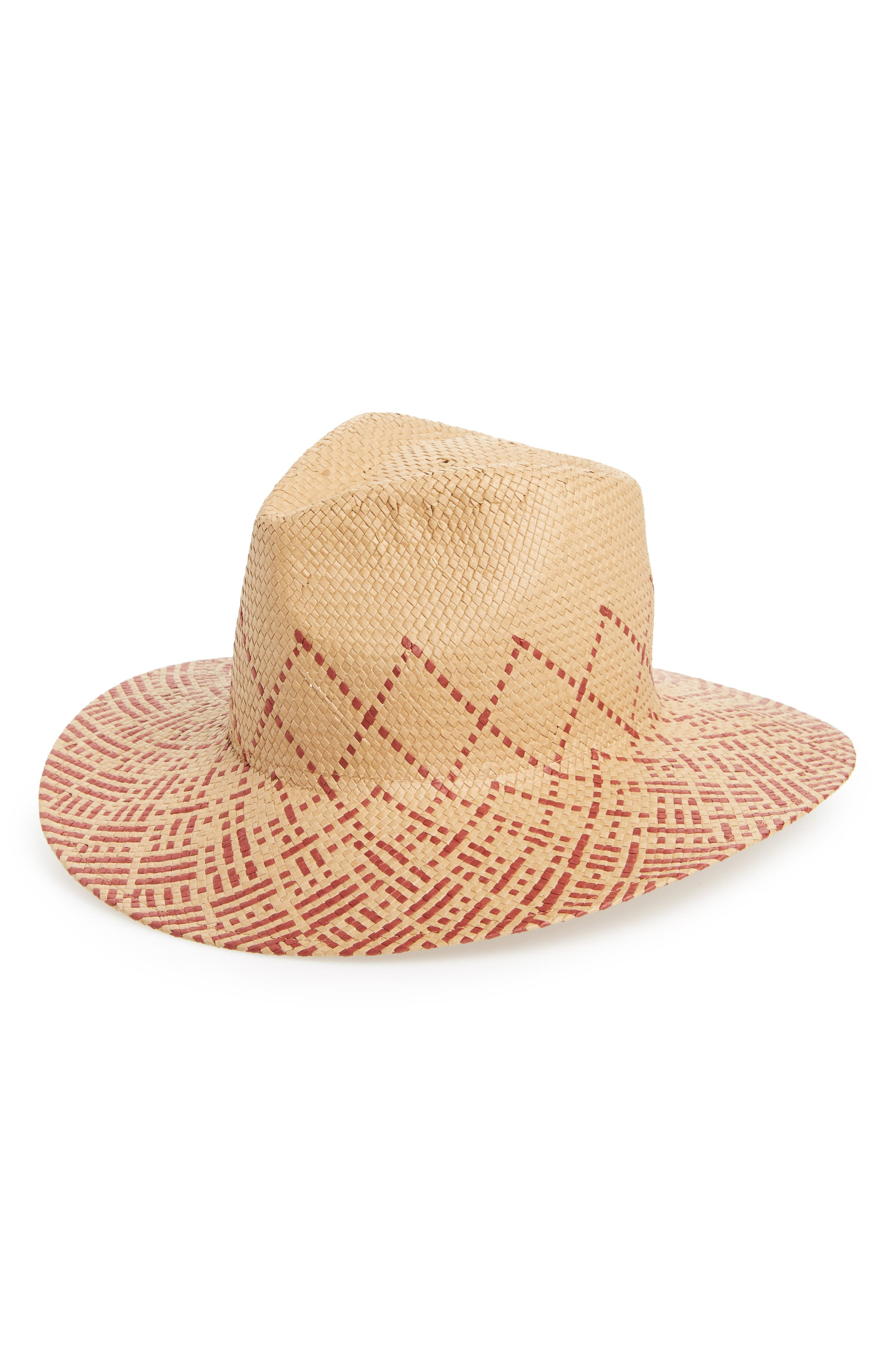 Two-Tone Straw Hat,                         Main,                         color, Tan/ Brown