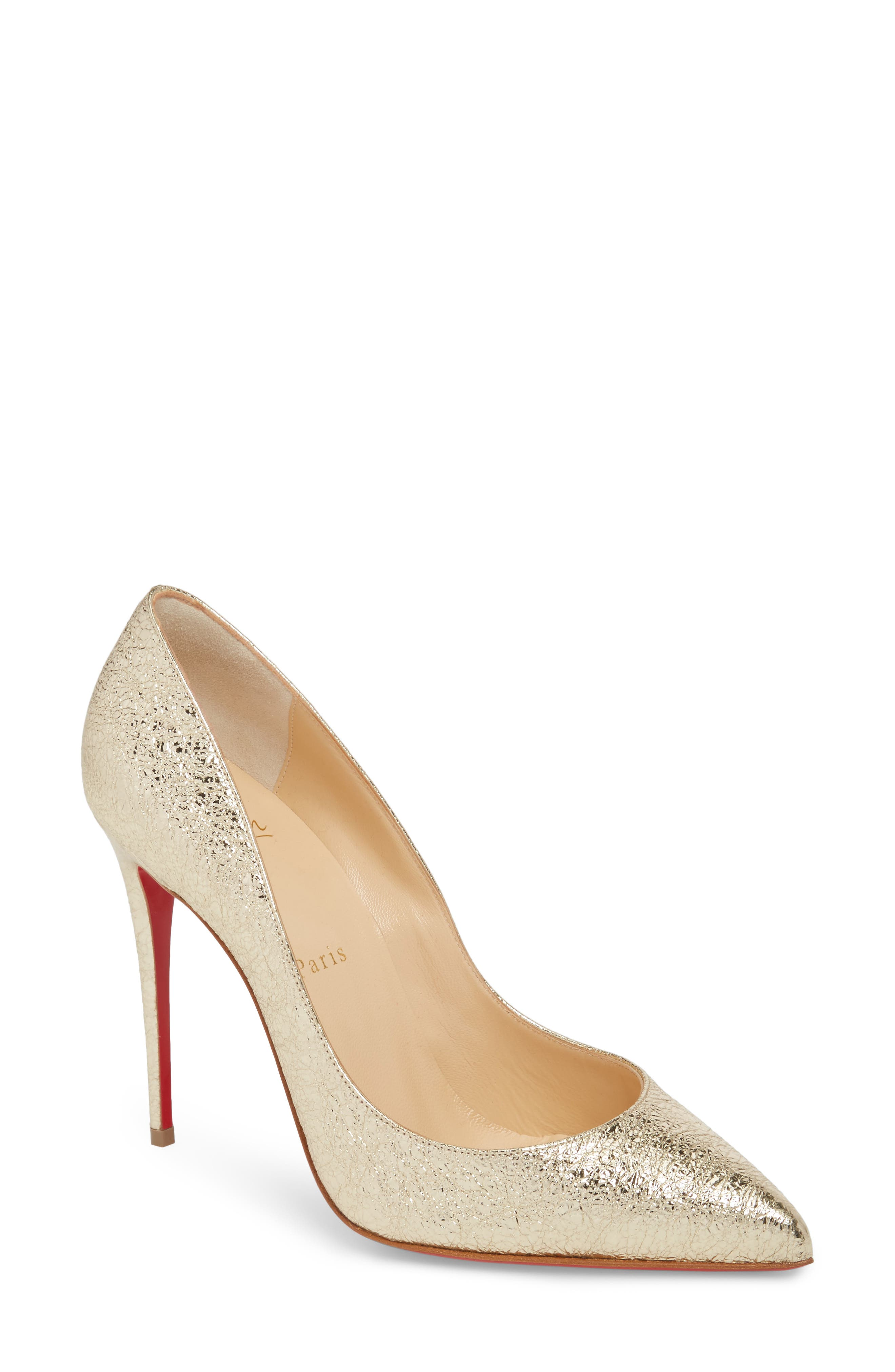 Pigalle Follies Pointy Toe Pump,                         Main,                         color, Platine