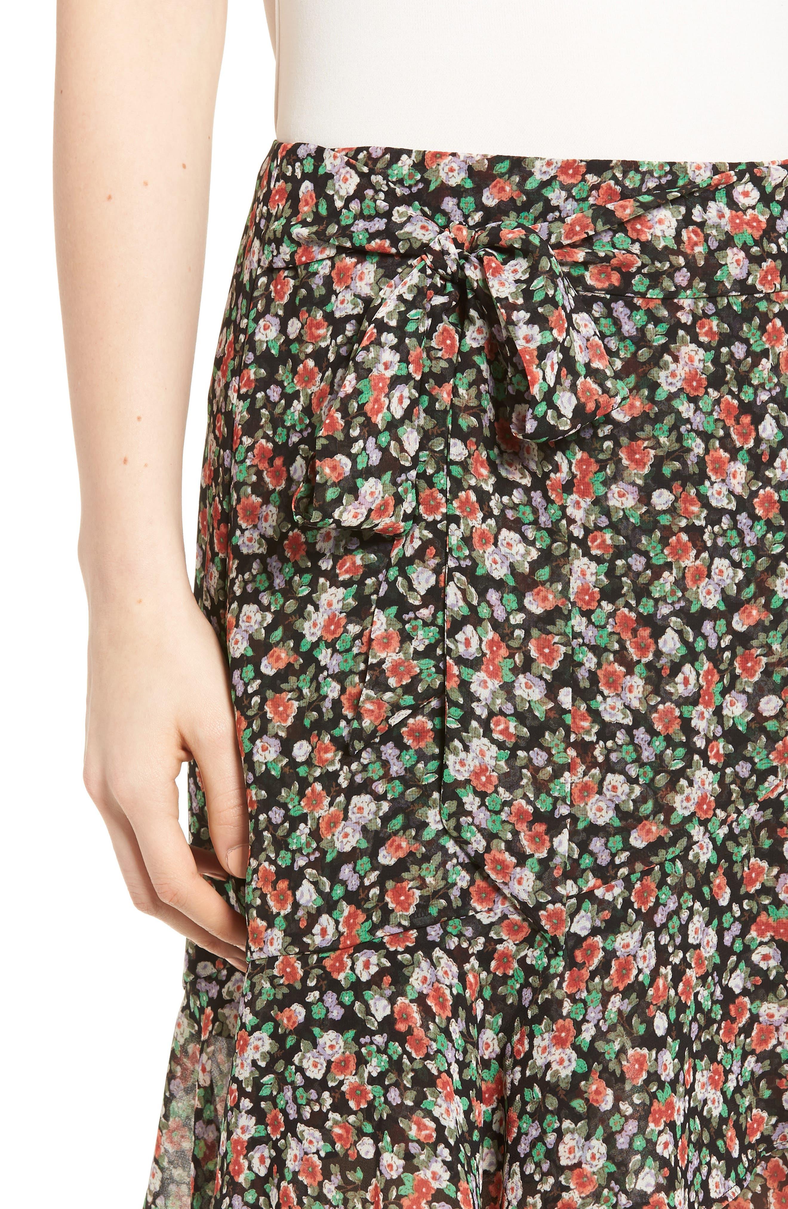 Alice Faux Wrap Skirt,                             Alternate thumbnail 4, color,                             Black Multi