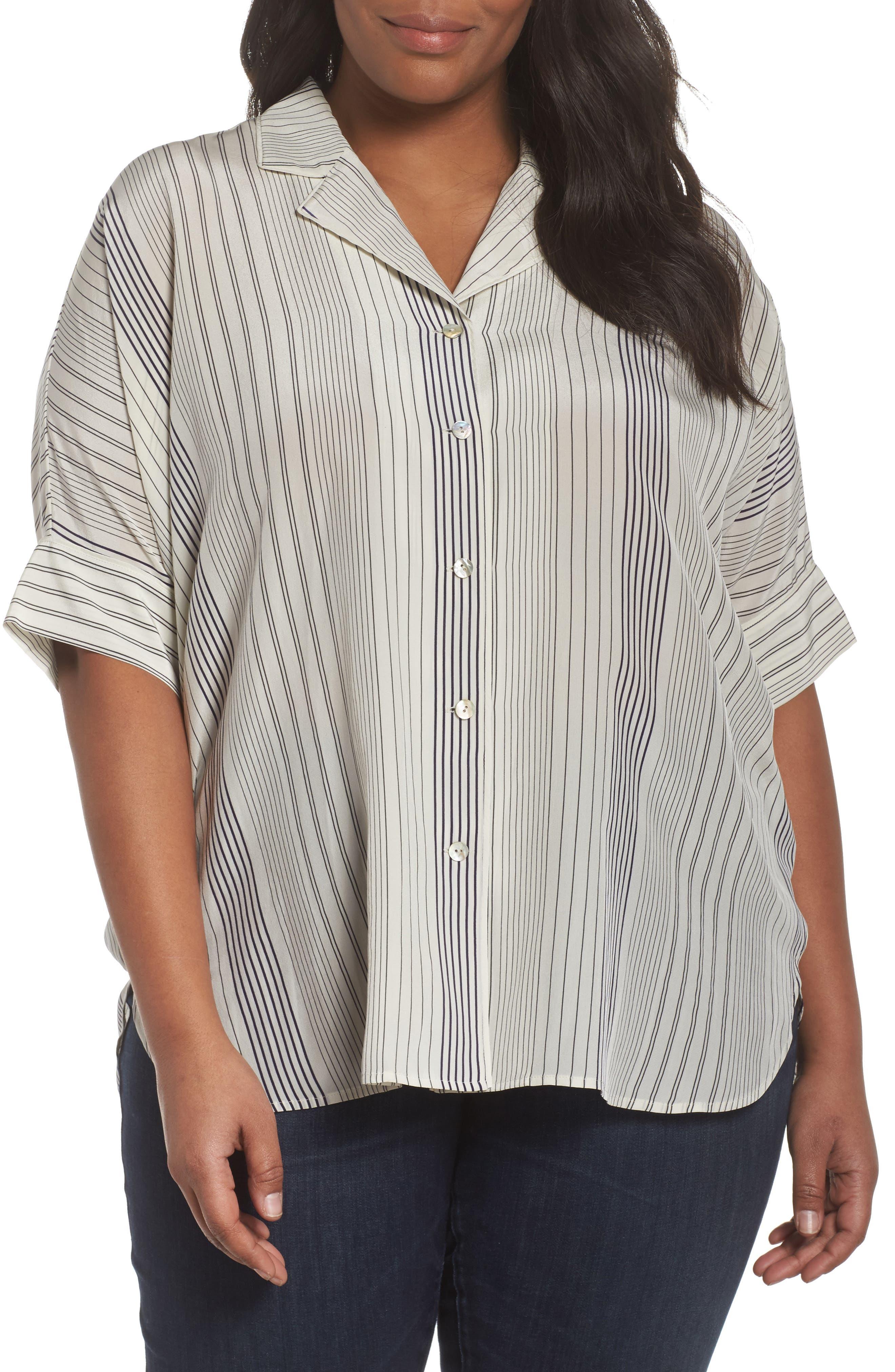 Stripe Silk Shirt,                             Main thumbnail 1, color,                             Bone