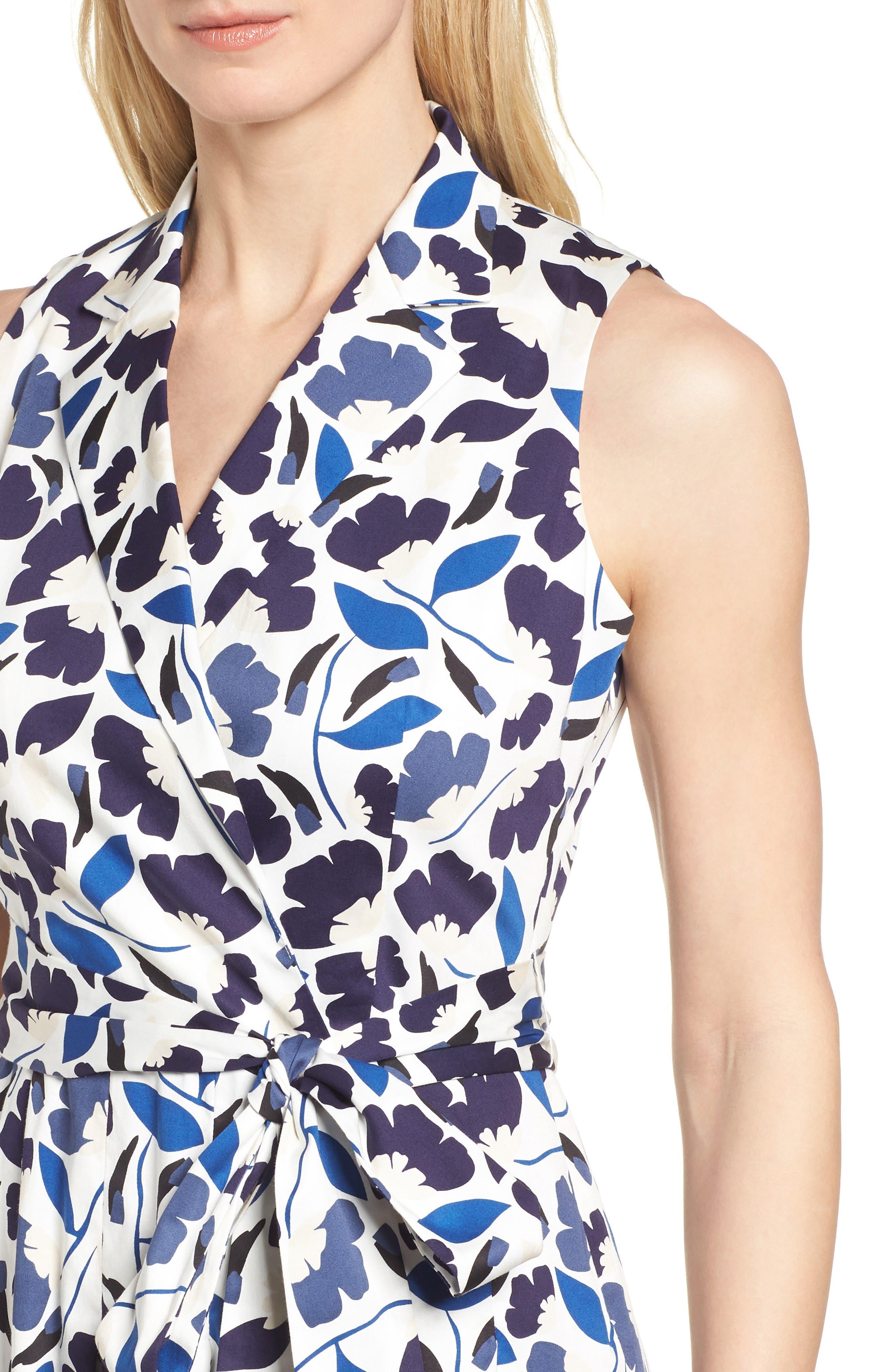 New York Humboldt Cotton Sateen Dress,                             Alternate thumbnail 4, color,                             Monaco Combo