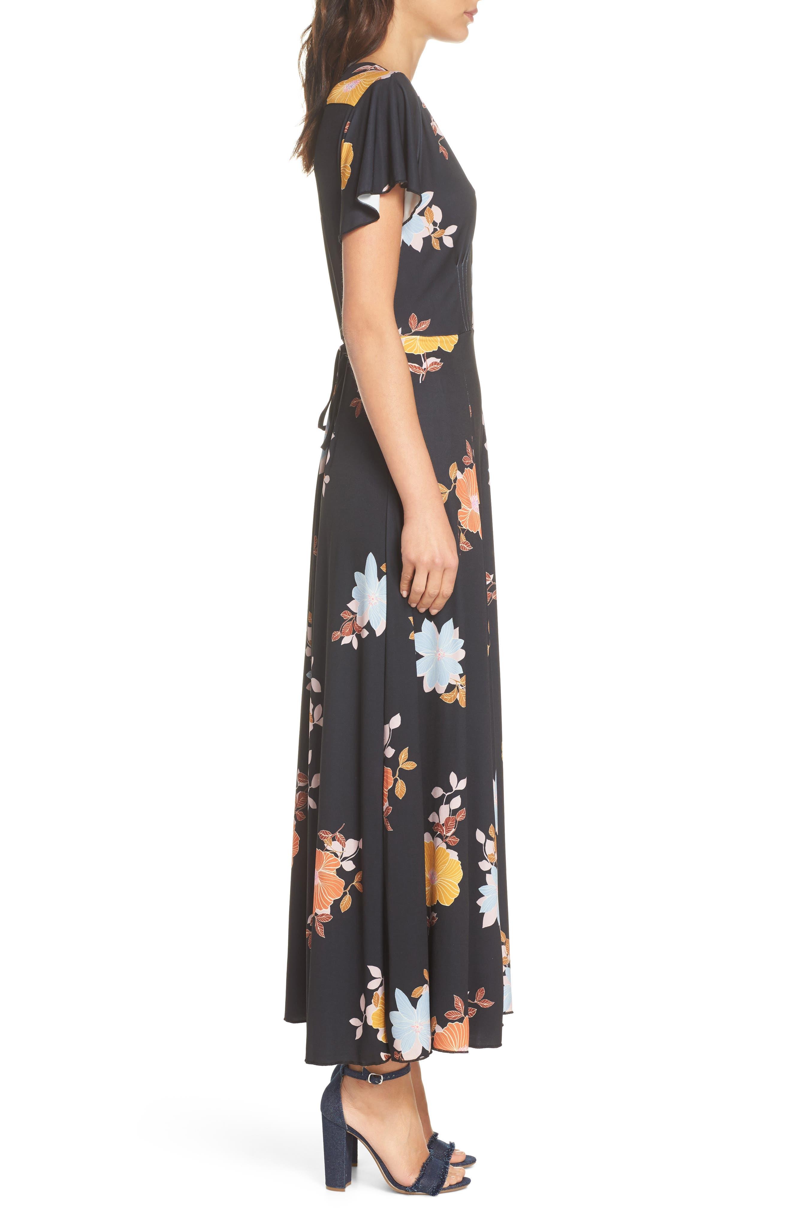 Shikoku Jersey Maxi Dress,                             Alternate thumbnail 3, color,                             Black Multi