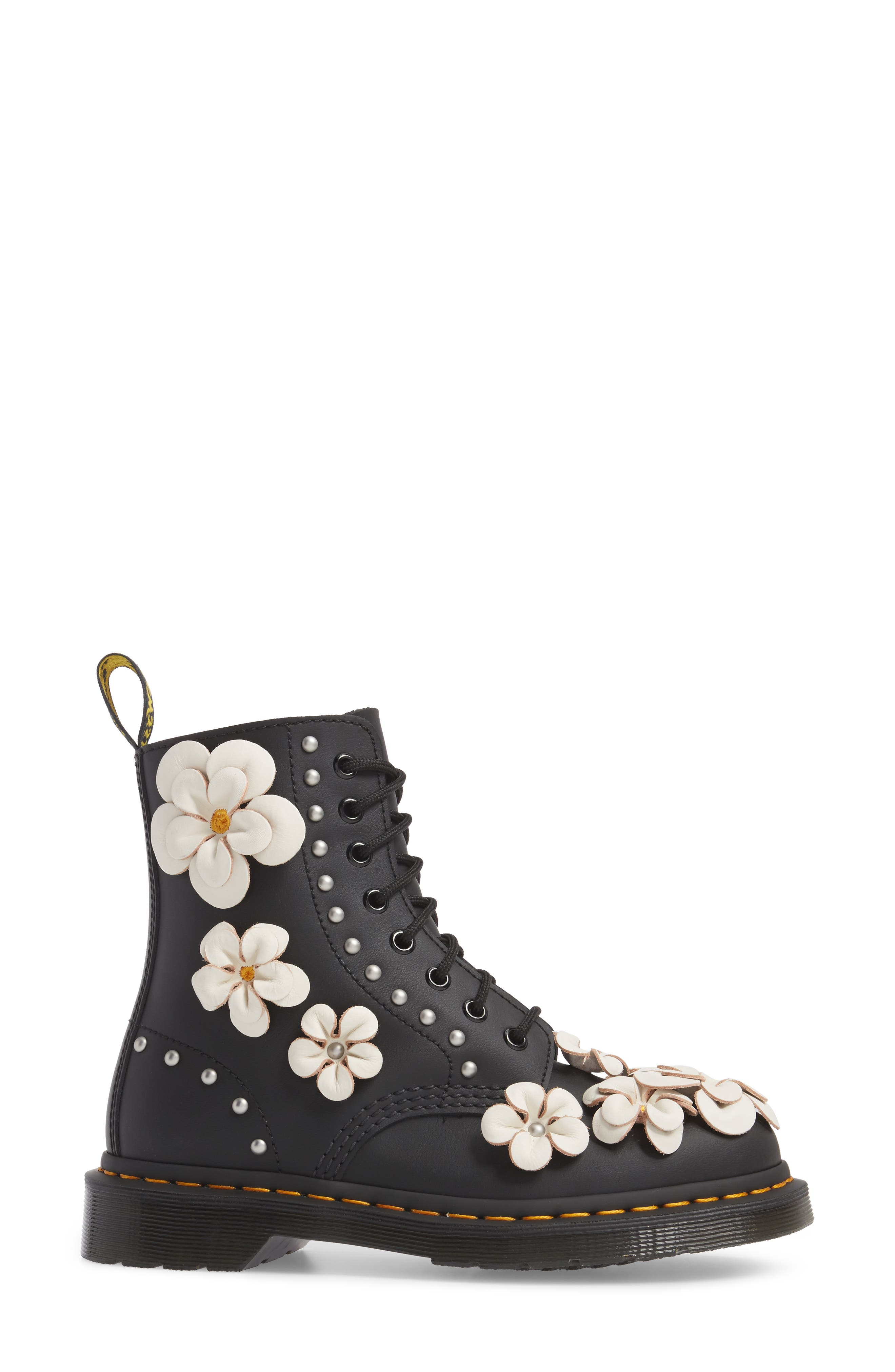 Pascal Flower Boot,                             Alternate thumbnail 3, color,                             Black Leather