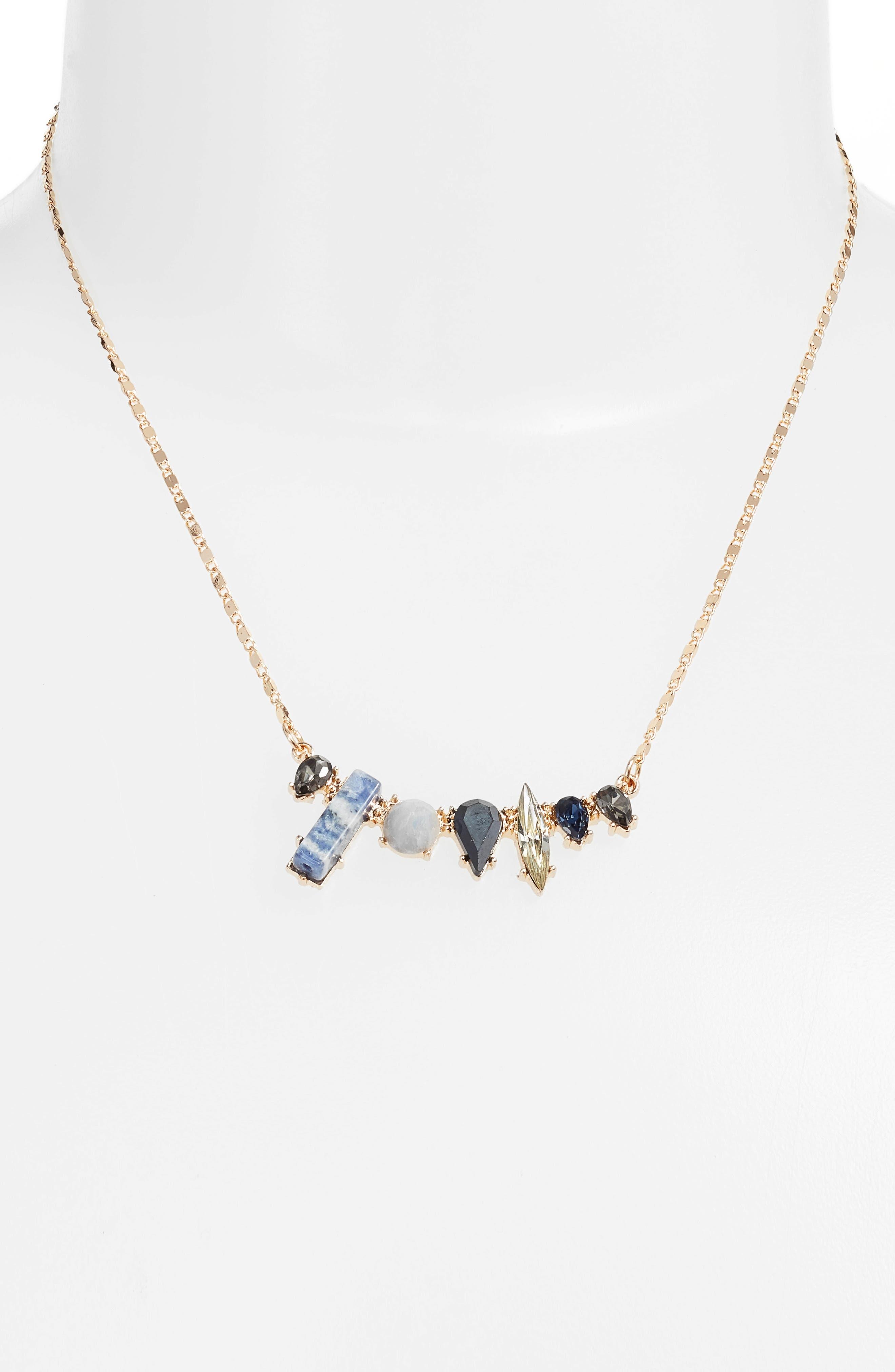 Lapis & Crystal Mini Statement Necklace,                             Alternate thumbnail 2, color,                             Gold/ Blue/ Black