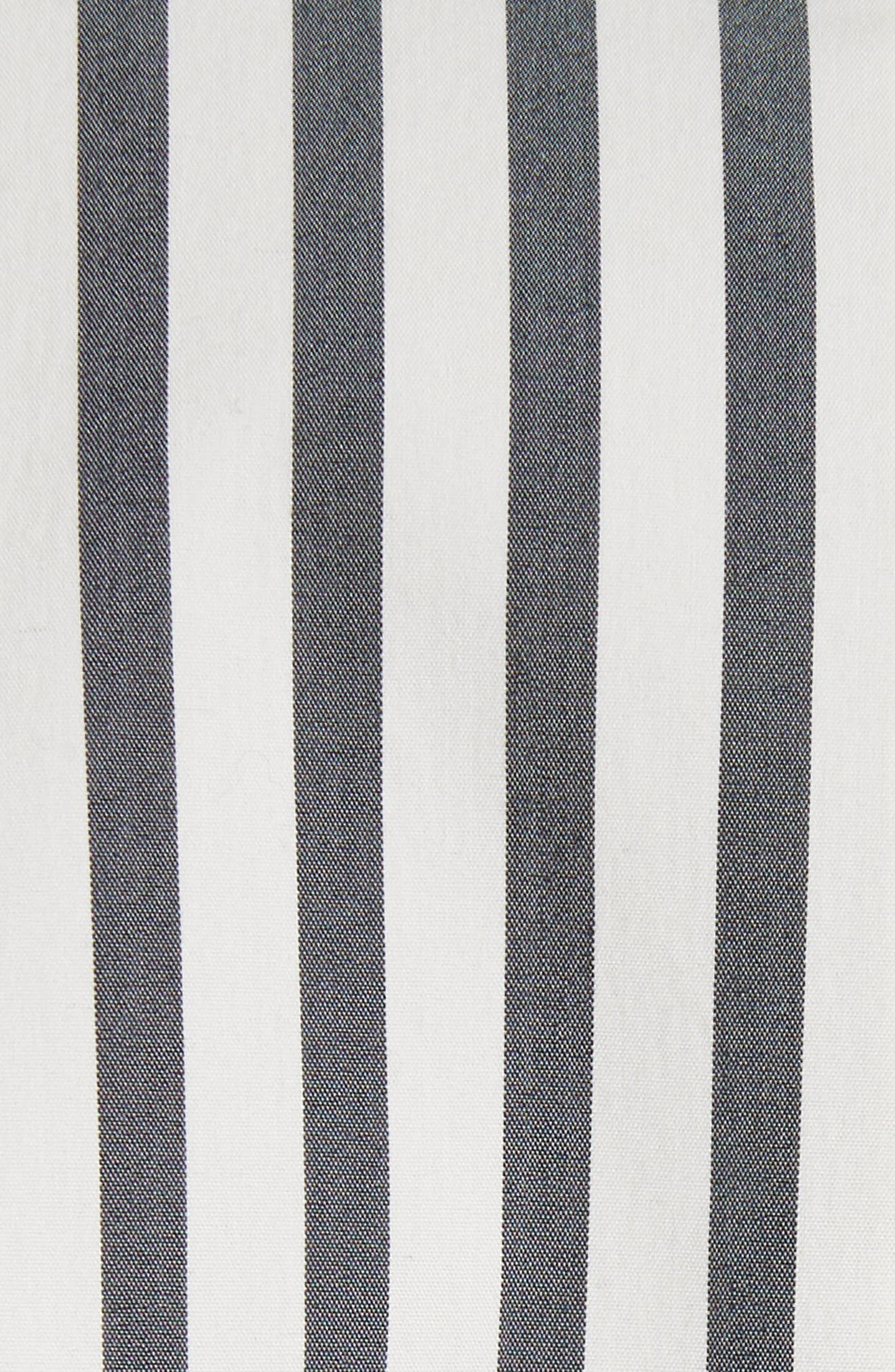 Stripe Shirtdress,                             Alternate thumbnail 5, color,                             Black/ White