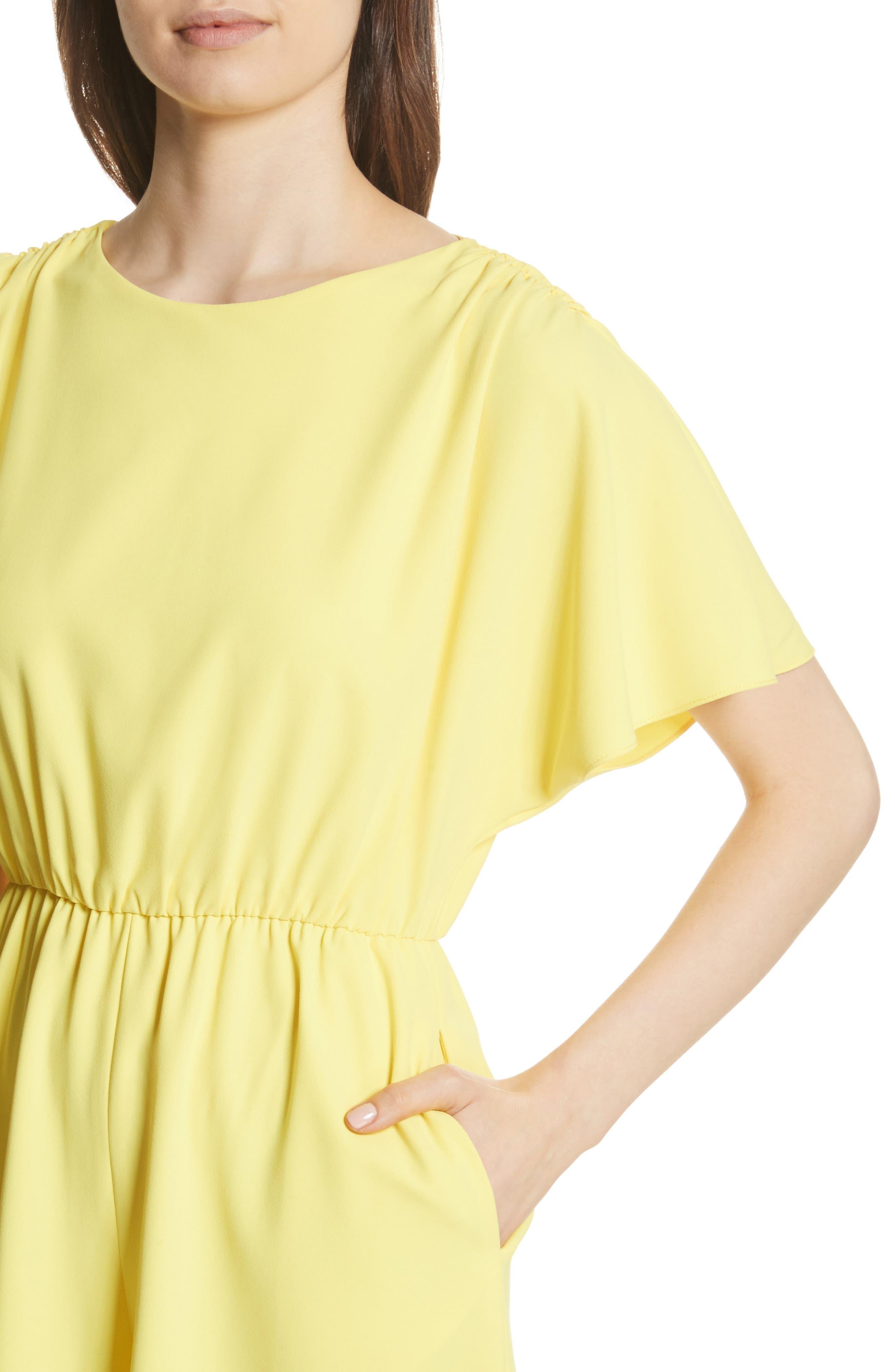 Ashlea Flutter Sleeve Romper,                             Alternate thumbnail 4, color,                             Lemon