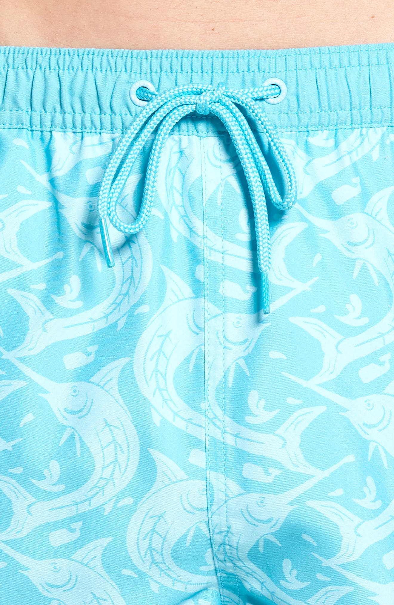 Marlin Out of Water Chappy Swim Trunks,                             Alternate thumbnail 4, color,                             Turquoise