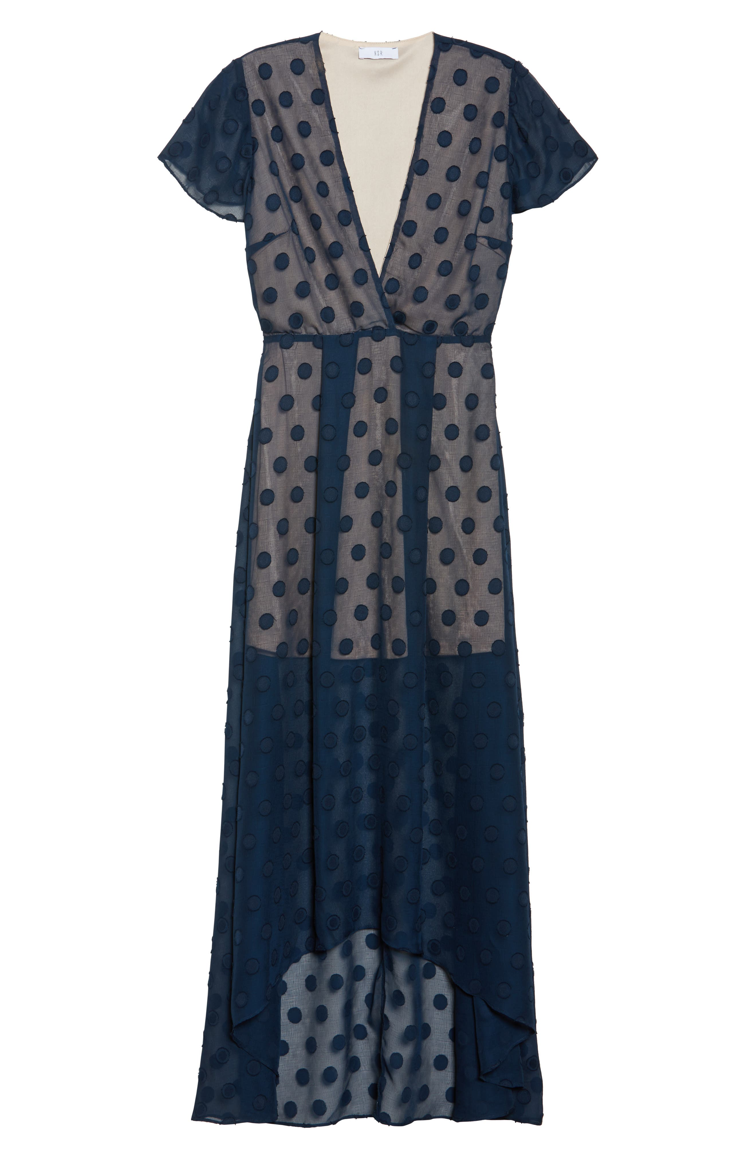Alexis Dot Jacquard Maxi Dress,                             Alternate thumbnail 6, color,                             Navy