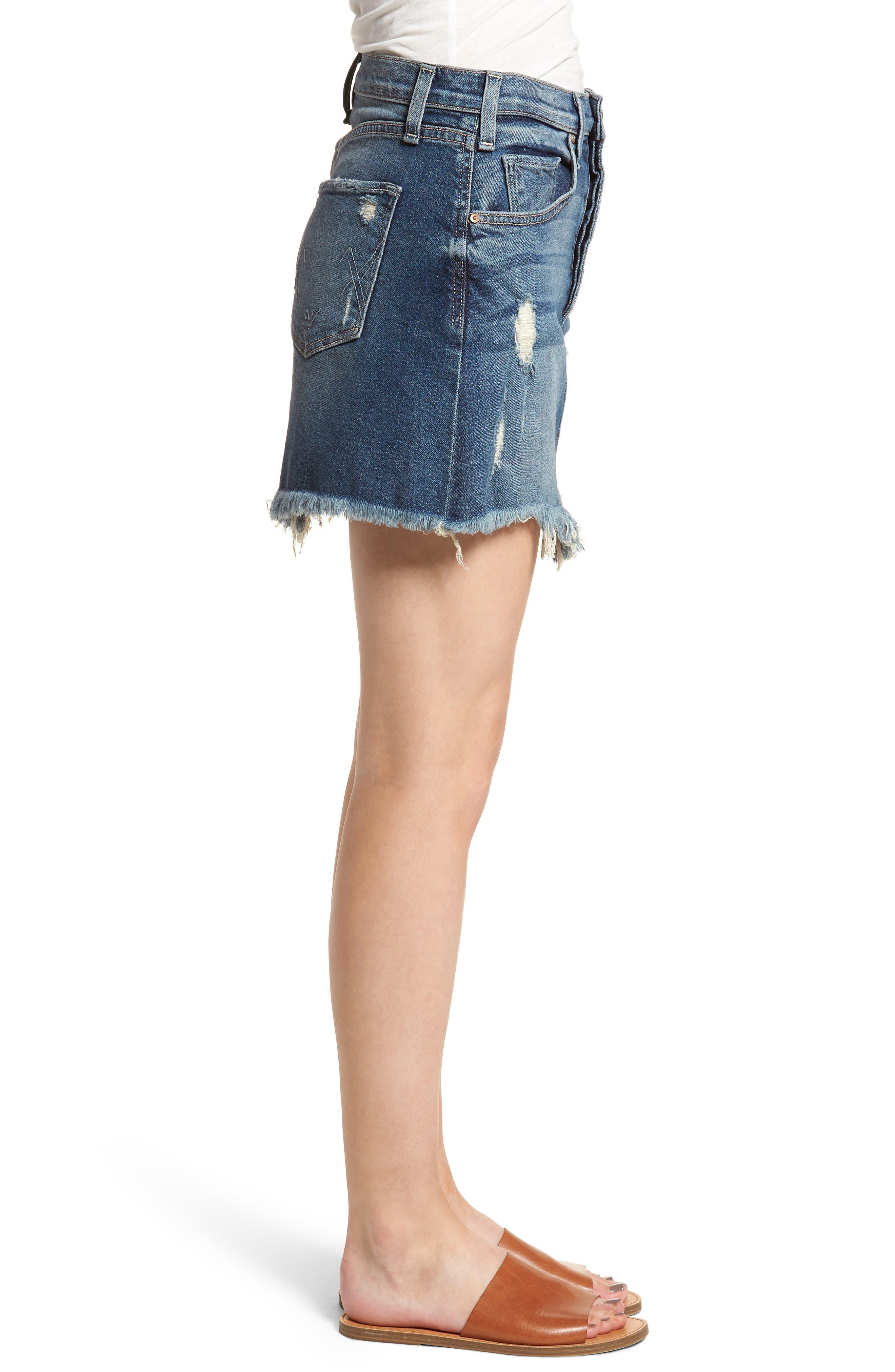 Izabel Angled Hem Denim Skirt,                             Alternate thumbnail 3, color,                             Minionette