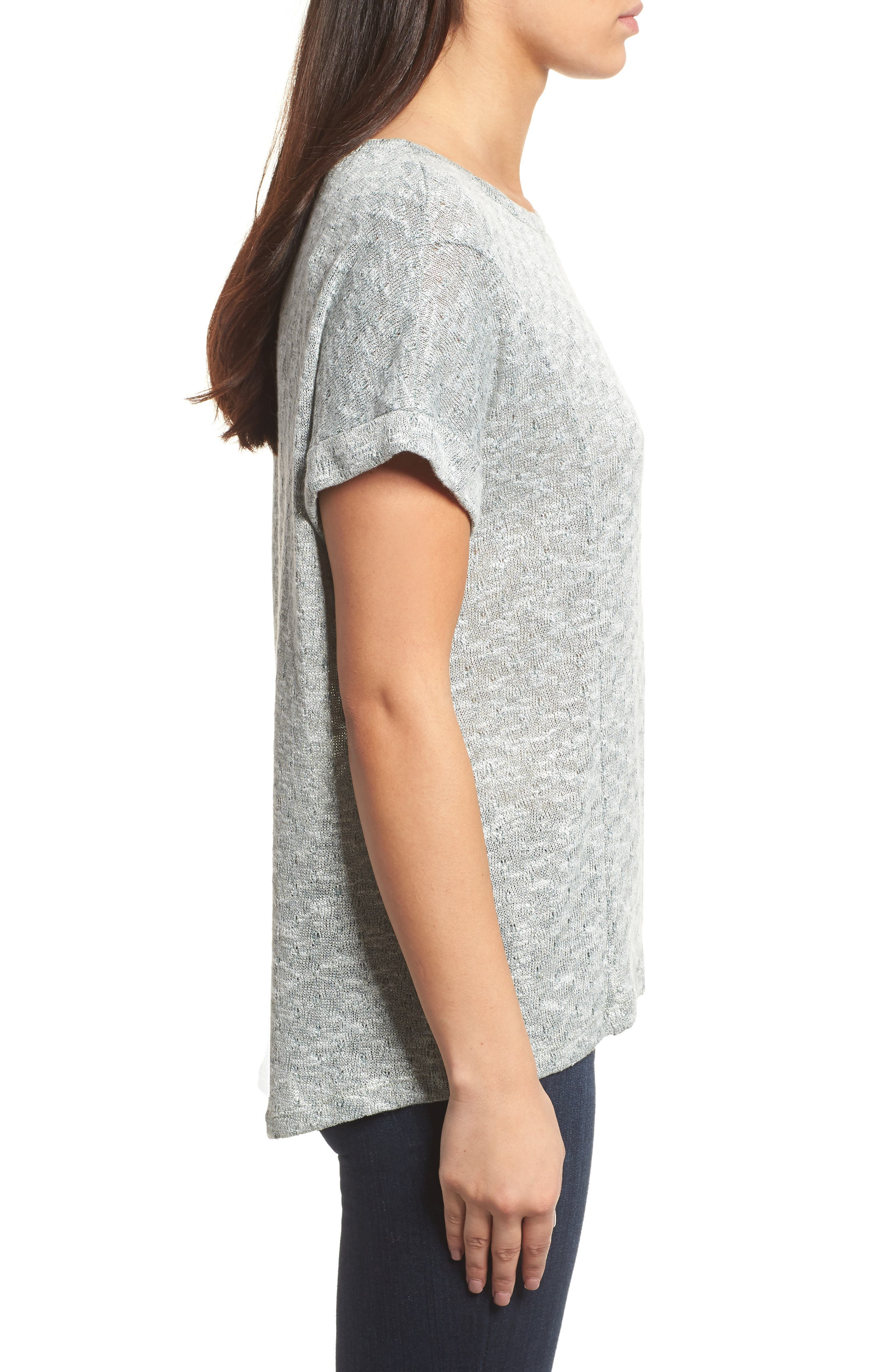 Marled Knit Short Sleeve Top,                             Alternate thumbnail 3, color,                             738-Tropic Moss
