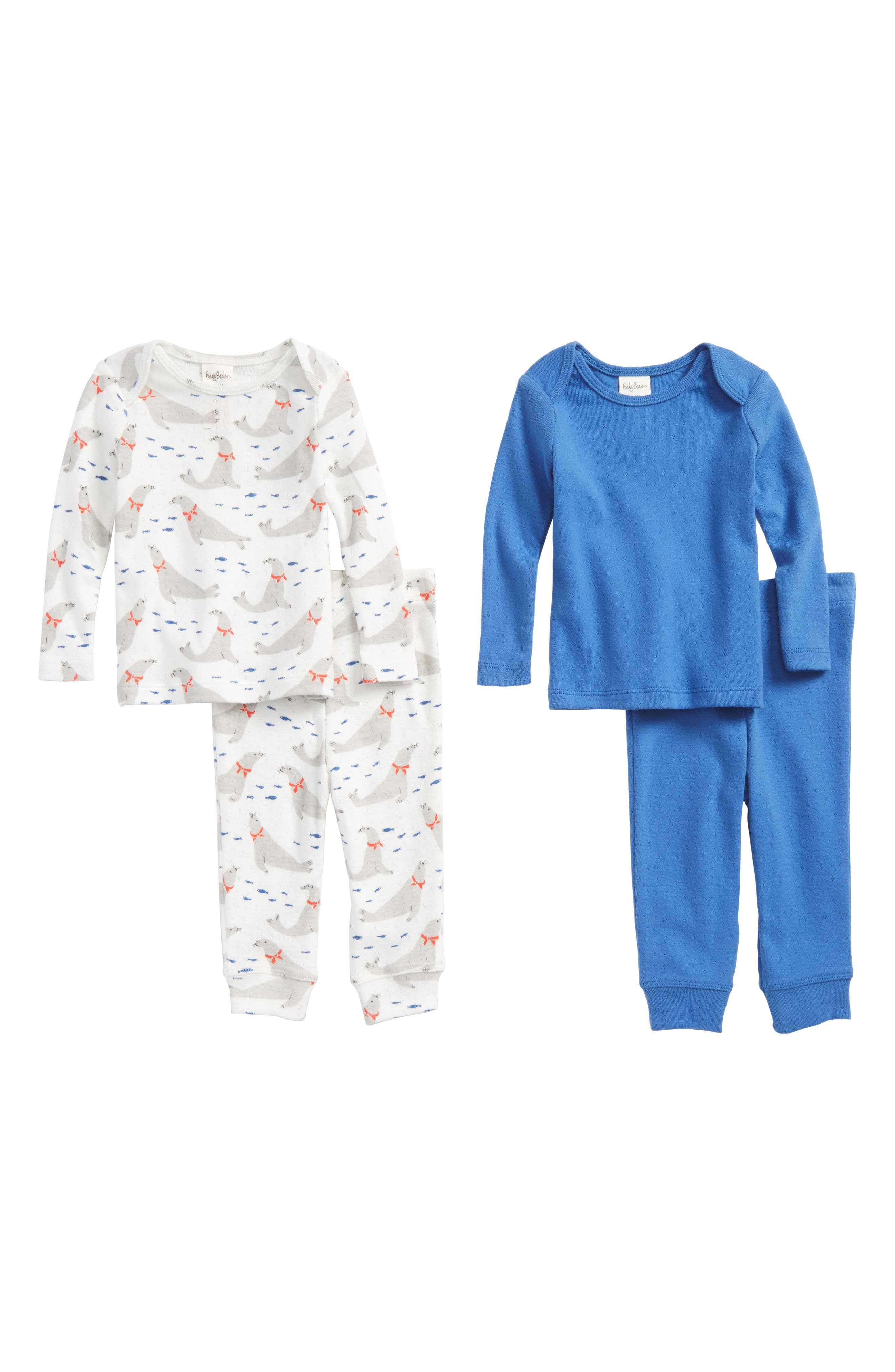 Pointelle 4-Piece Fitted Pajama Set,                         Main,                         color, Ivory Seals