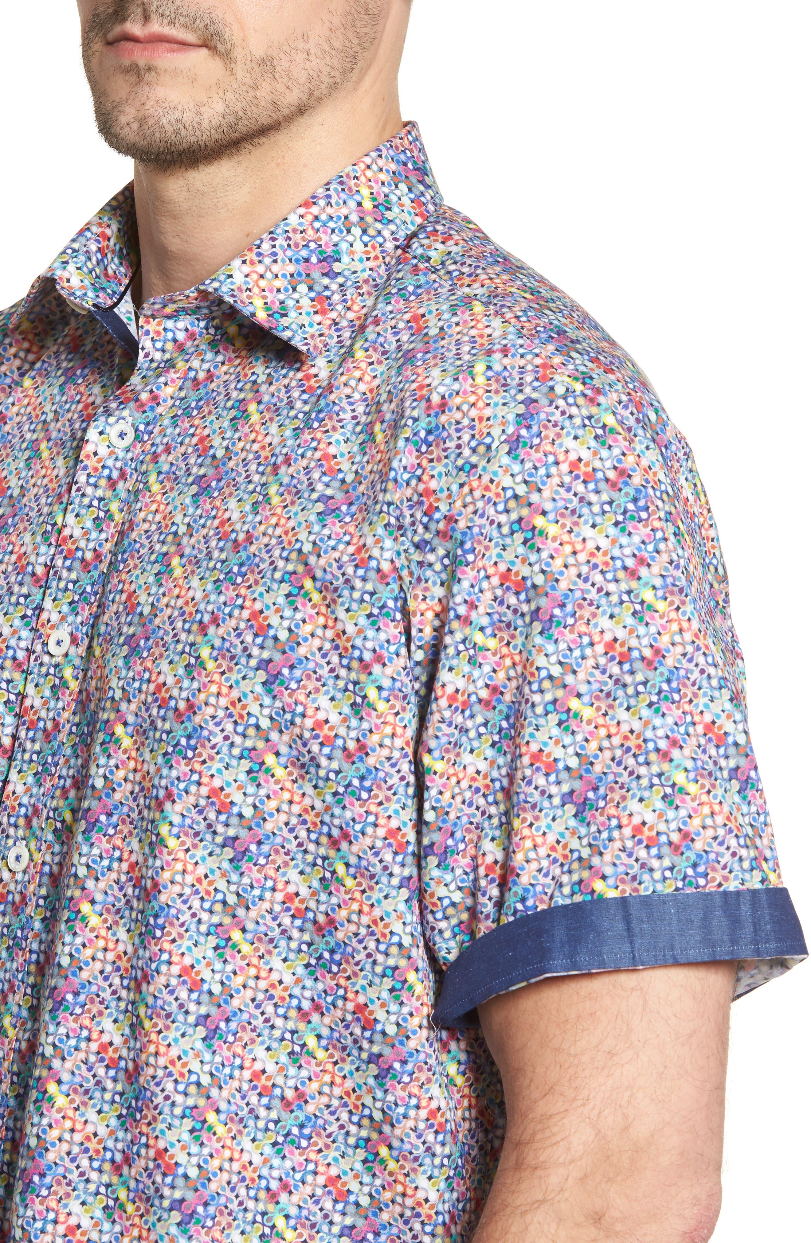 Classic Fit Flashy Fireballs Sport Shirt,                             Alternate thumbnail 4, color,                             Periwinkle