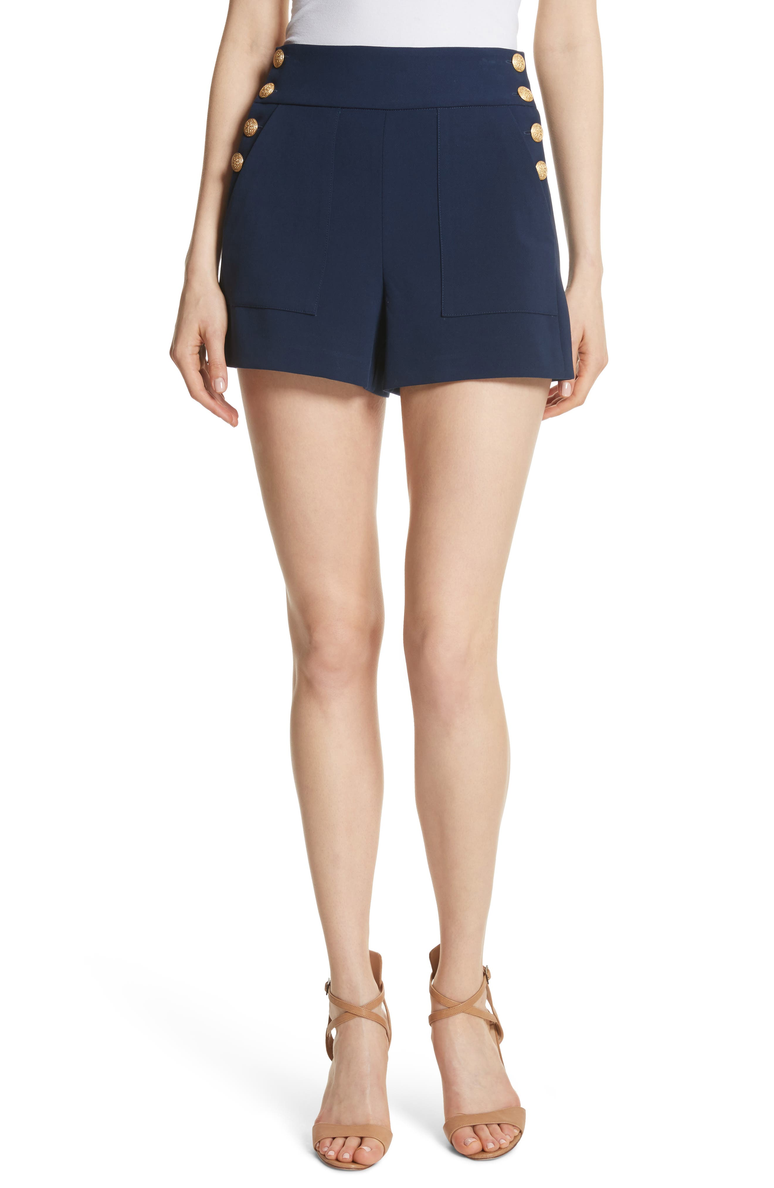 Donald High Waist Sailor Shorts,                             Main thumbnail 1, color,                             Sapphire