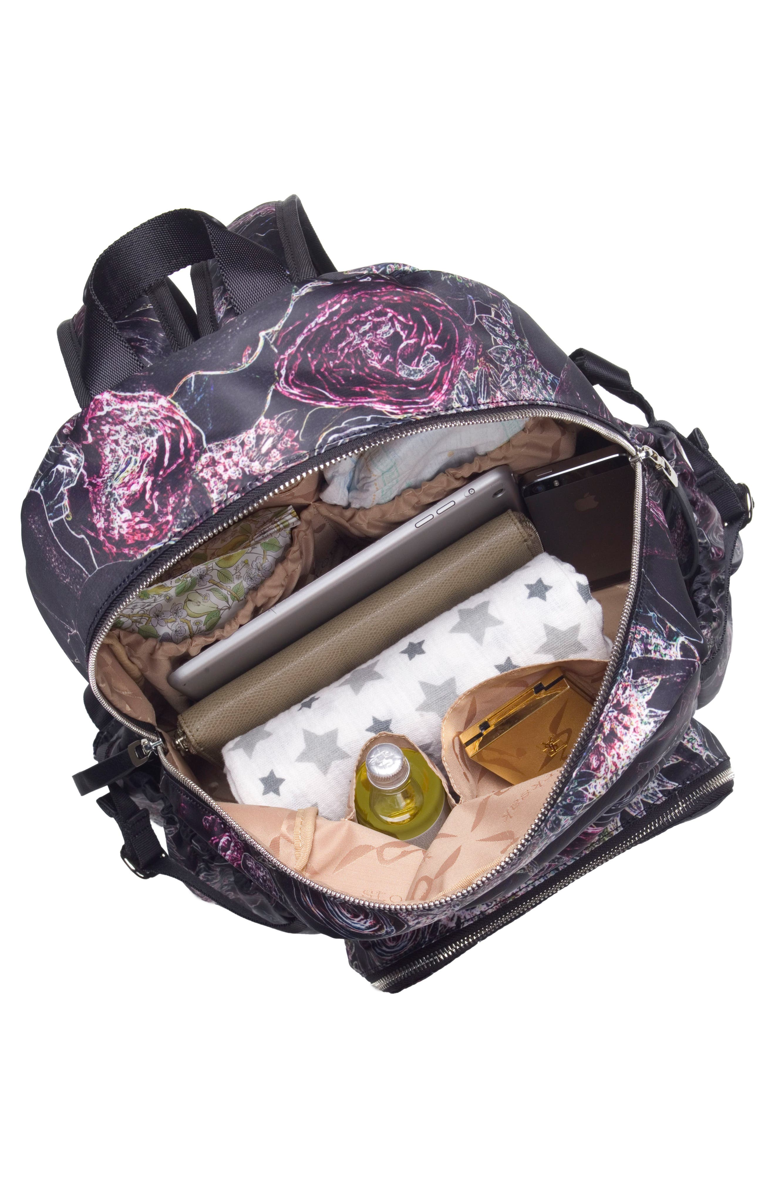 Hero Water Resistant Nylon Backpack Diaper Bag,                             Alternate thumbnail 6, color,                             Neon Floral