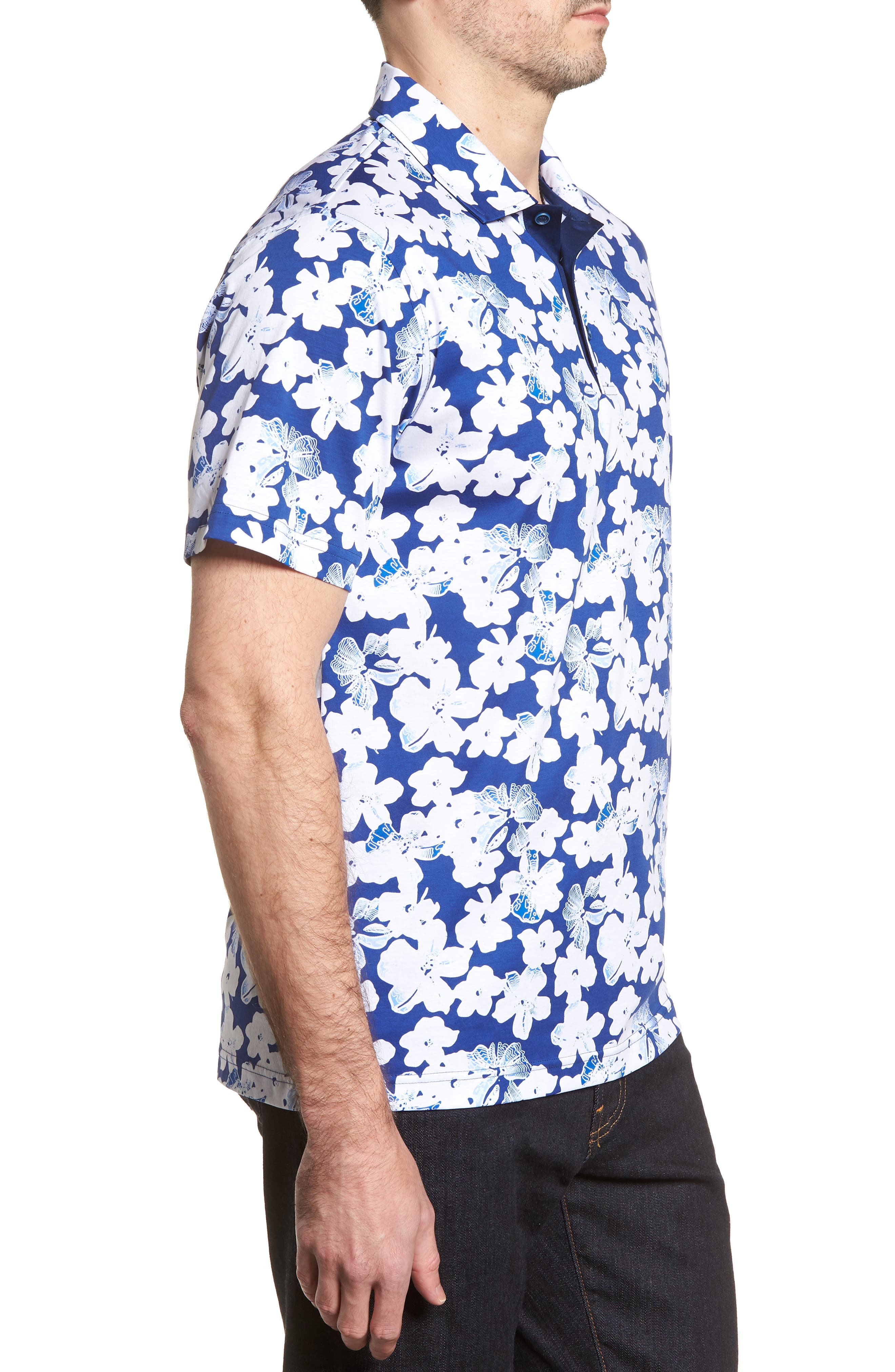 Classic Fit Floral Blueprint Polo,                             Alternate thumbnail 3, color,                             Royal