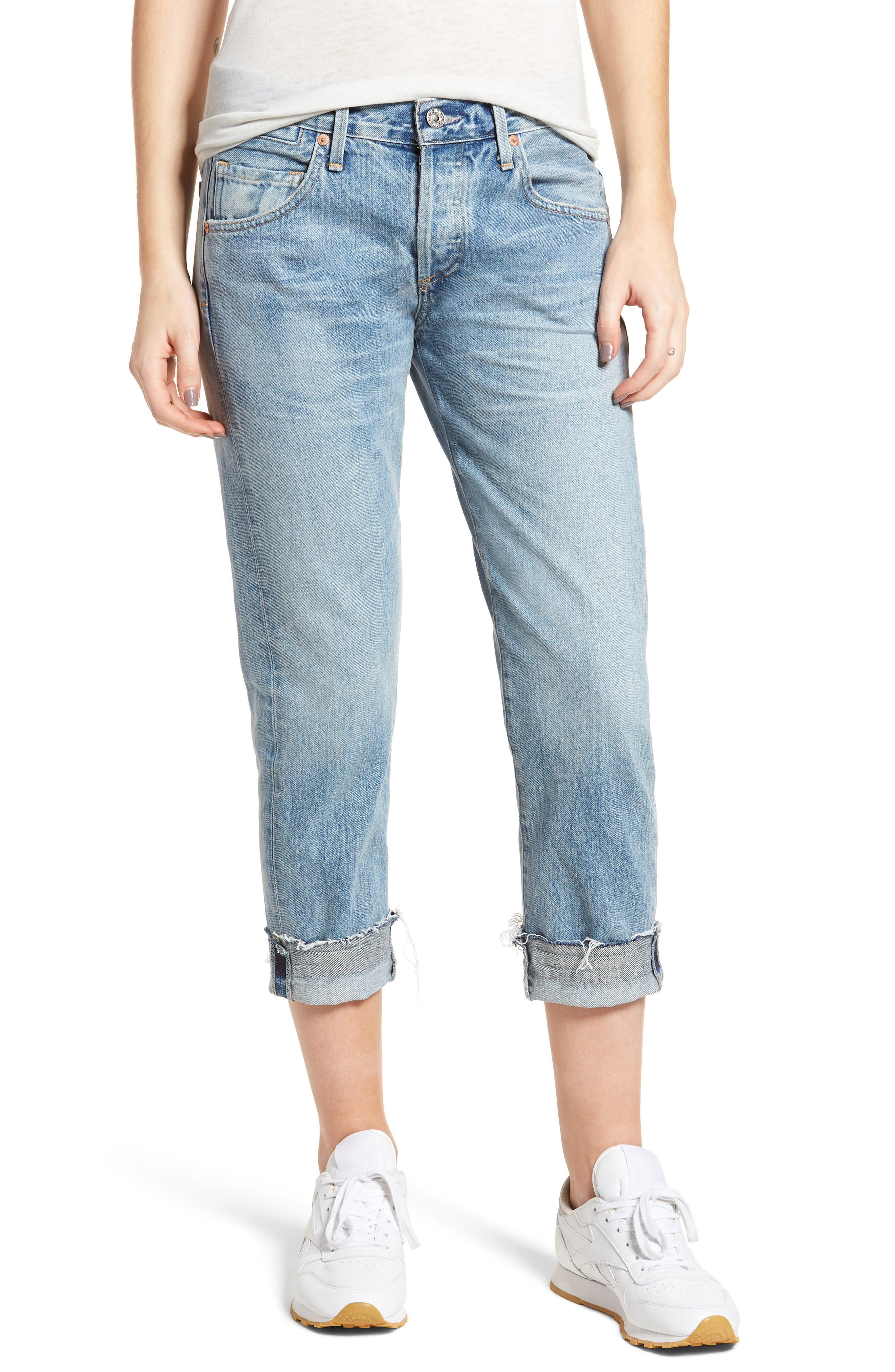 Emerson Crop Slim Fit Boyfriend Jeans,                         Main,                         color, Stax
