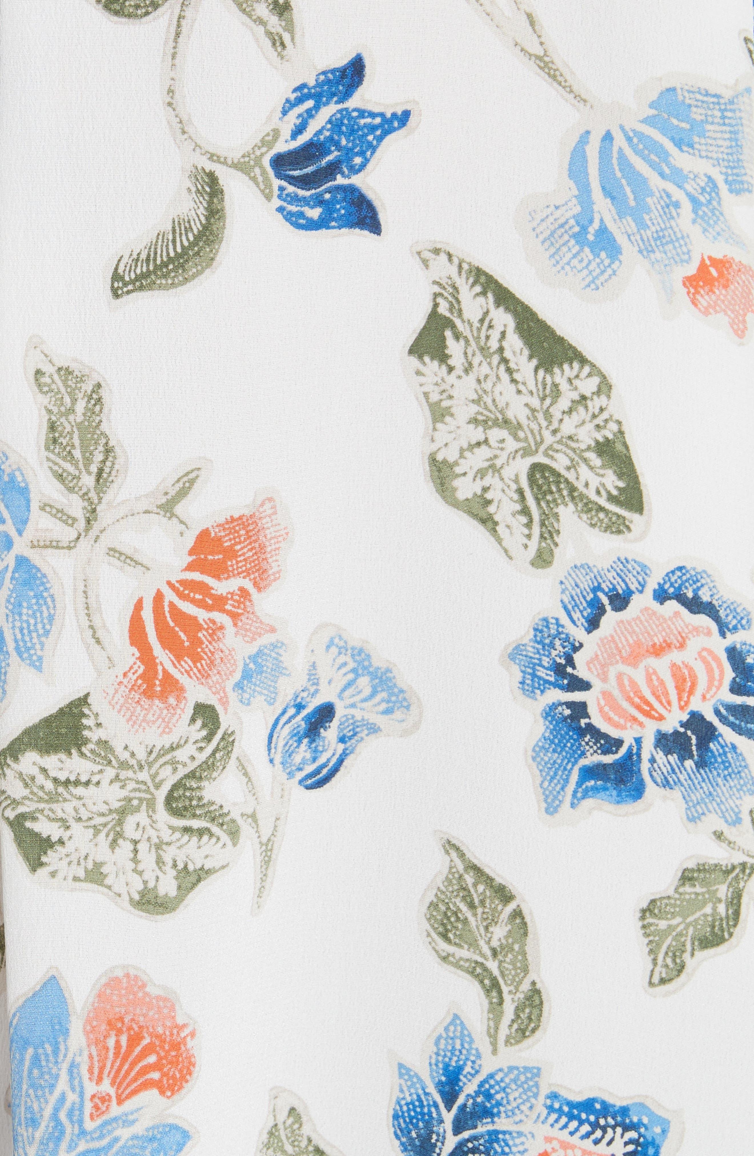Desmonda Floral Contrast Cuff Silk Blouse,                             Alternate thumbnail 5, color,                             Porcelain