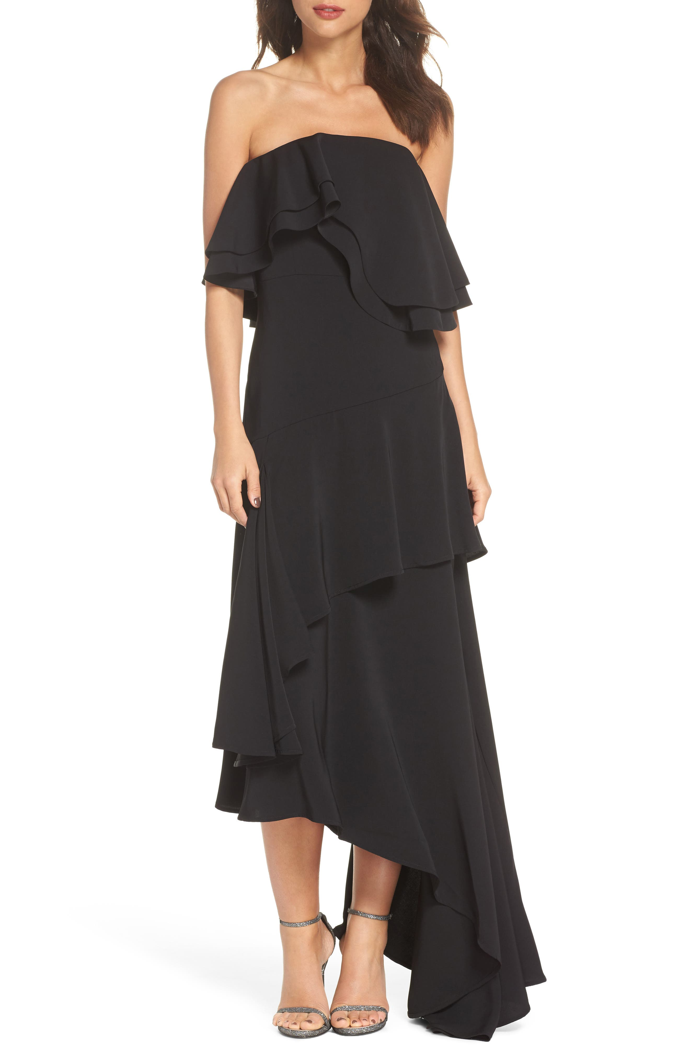 With You Strapless Asymmetric Gown,                         Main,                         color, Black
