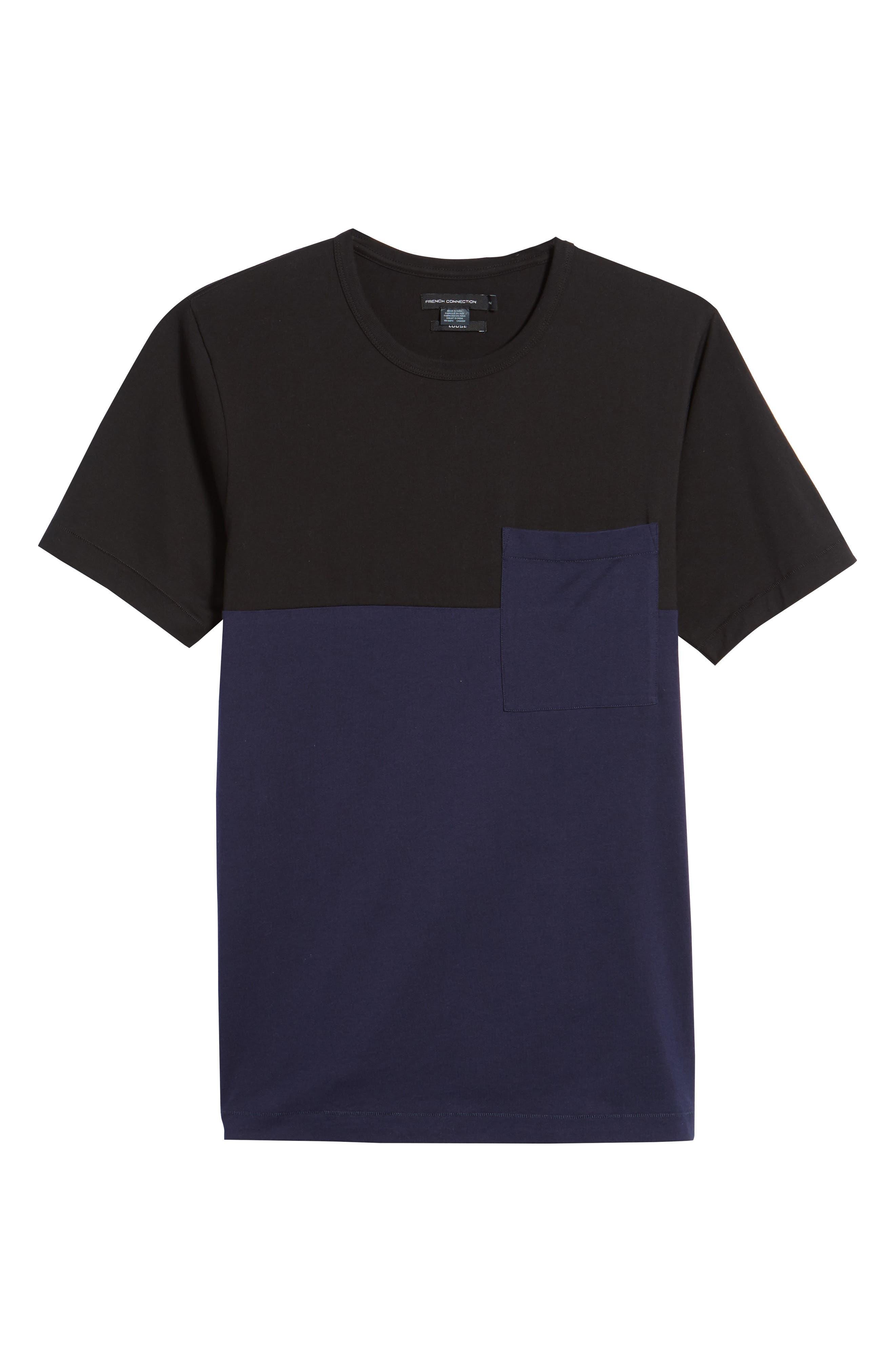 Half Stripe Crewneck T-Shirt,                             Alternate thumbnail 6, color,                             Black/ Blue Blood