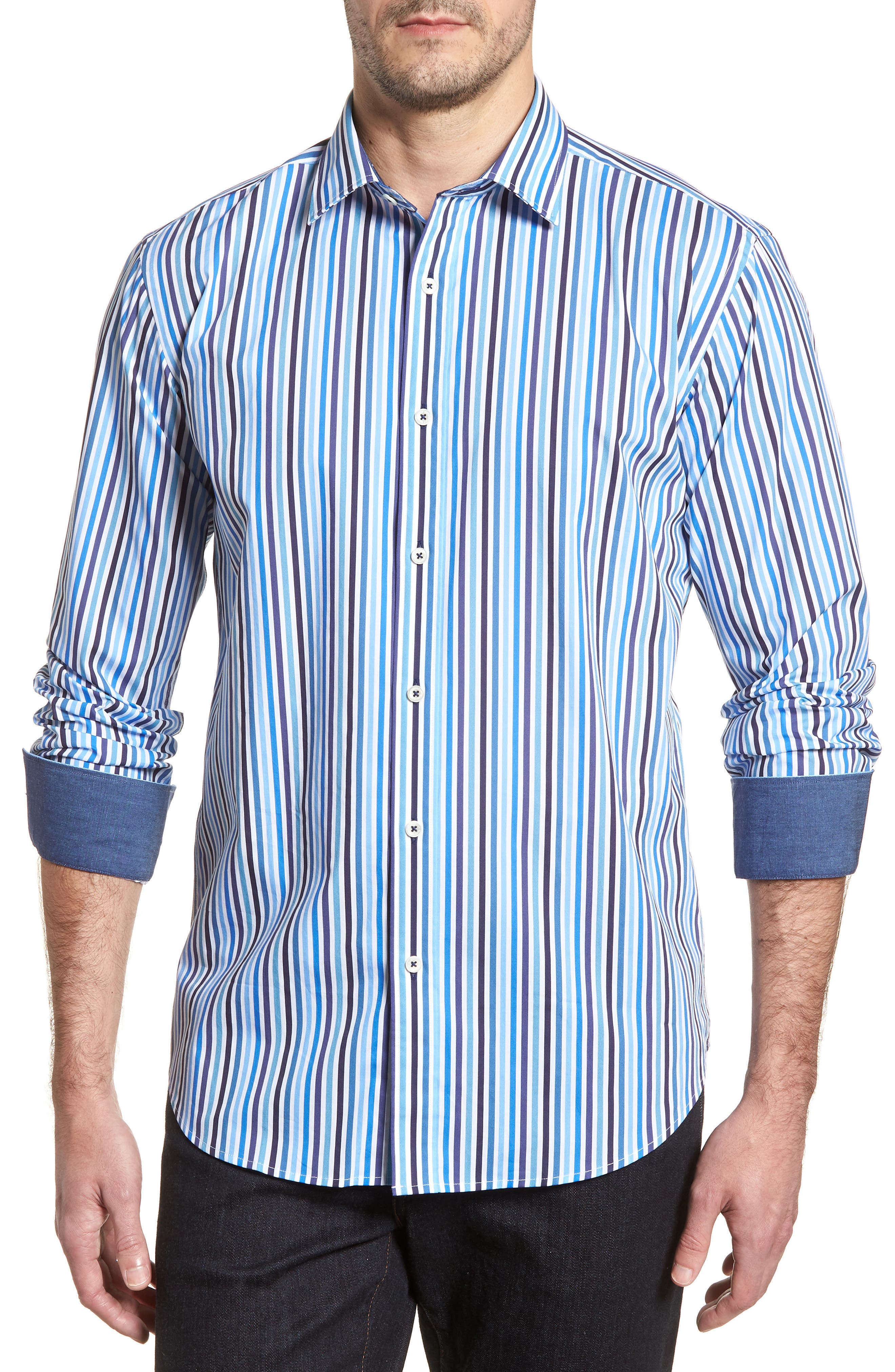 Shaped Fit Candy Stripe Sport Shirt,                         Main,                         color, Classic Blue