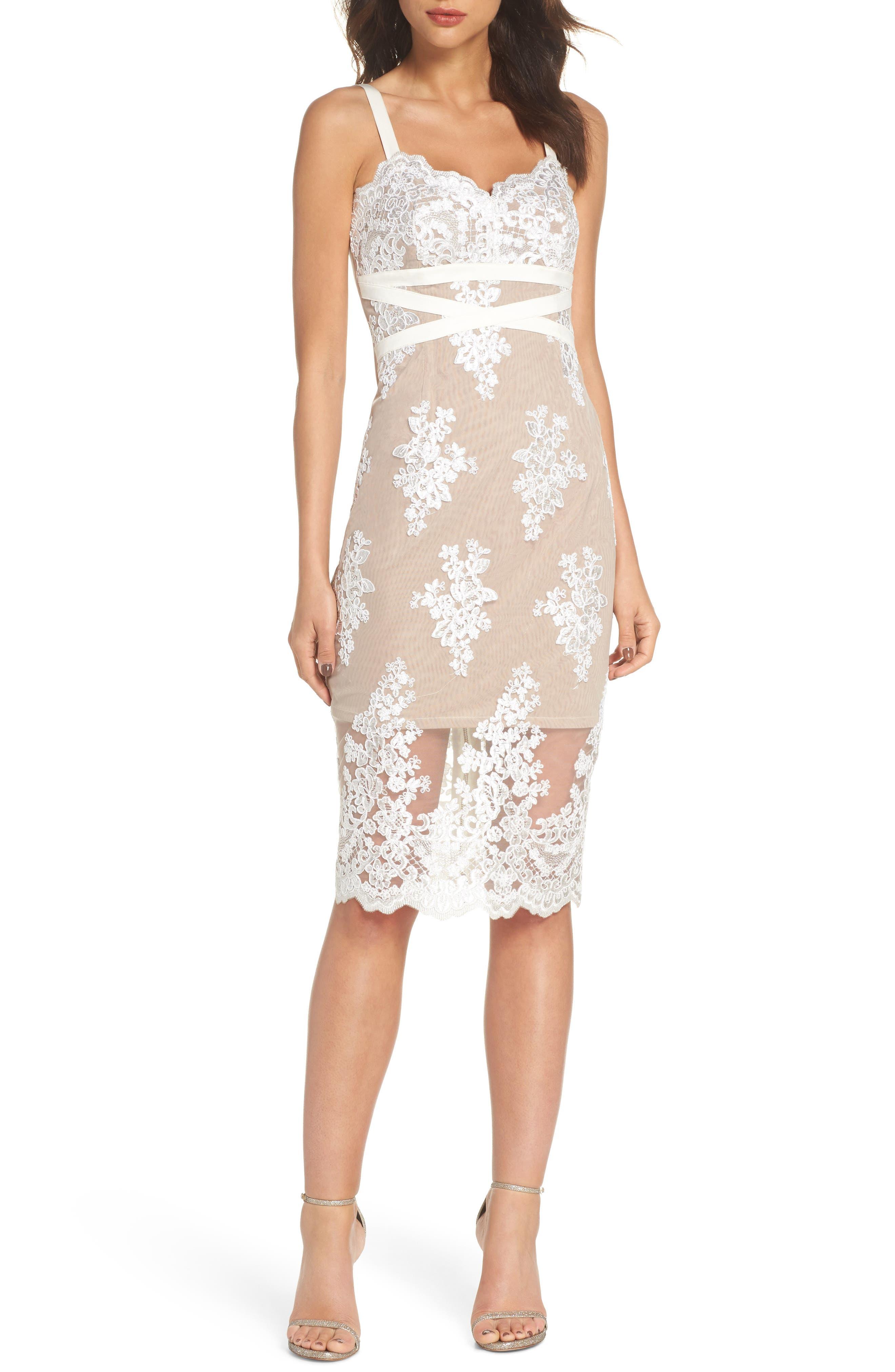 Camilla Lace Sheath Dress,                             Main thumbnail 1, color,                             White