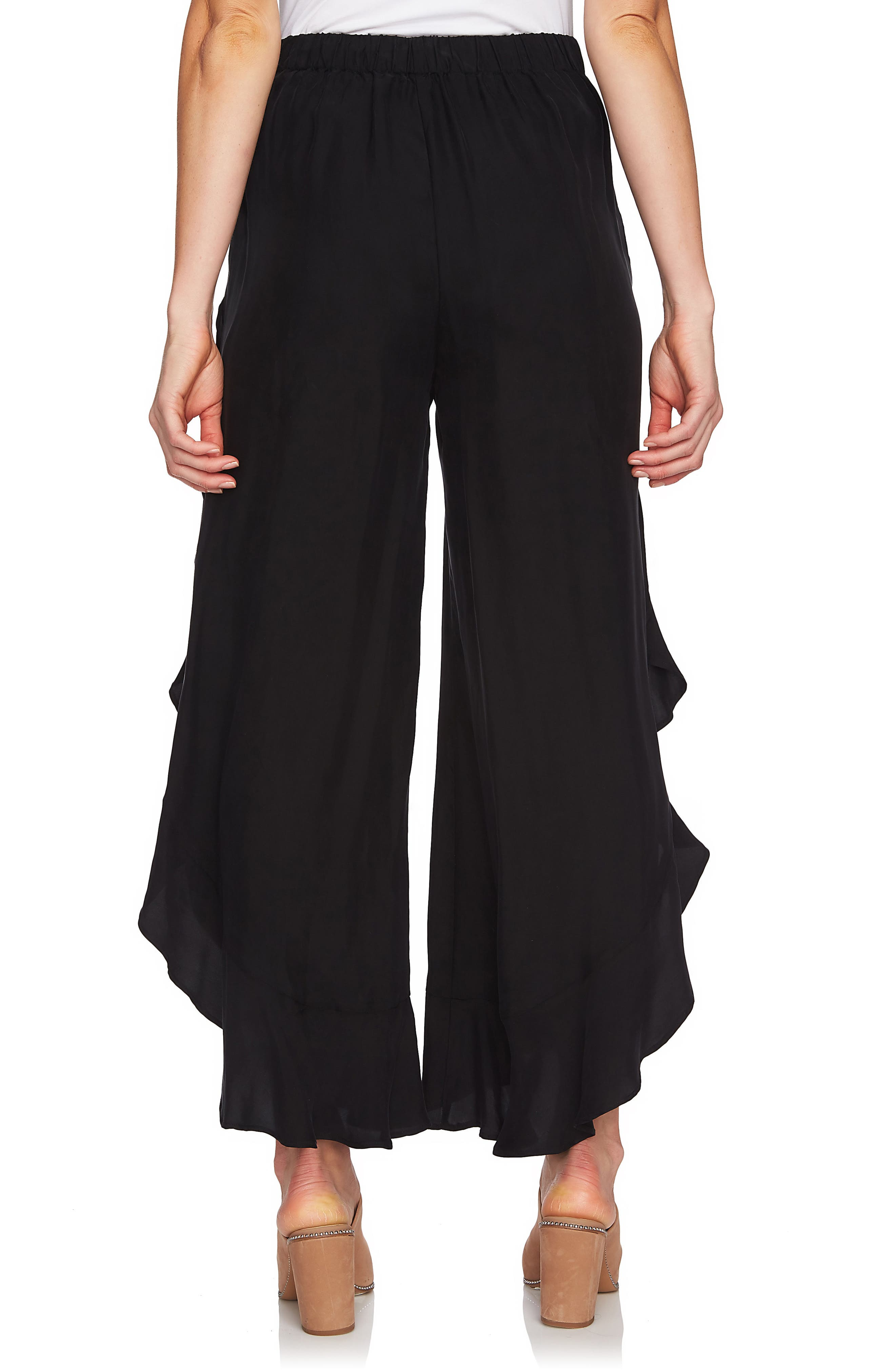 Ruffle Wide Leg Pants,                             Alternate thumbnail 2, color,                             Rich Black