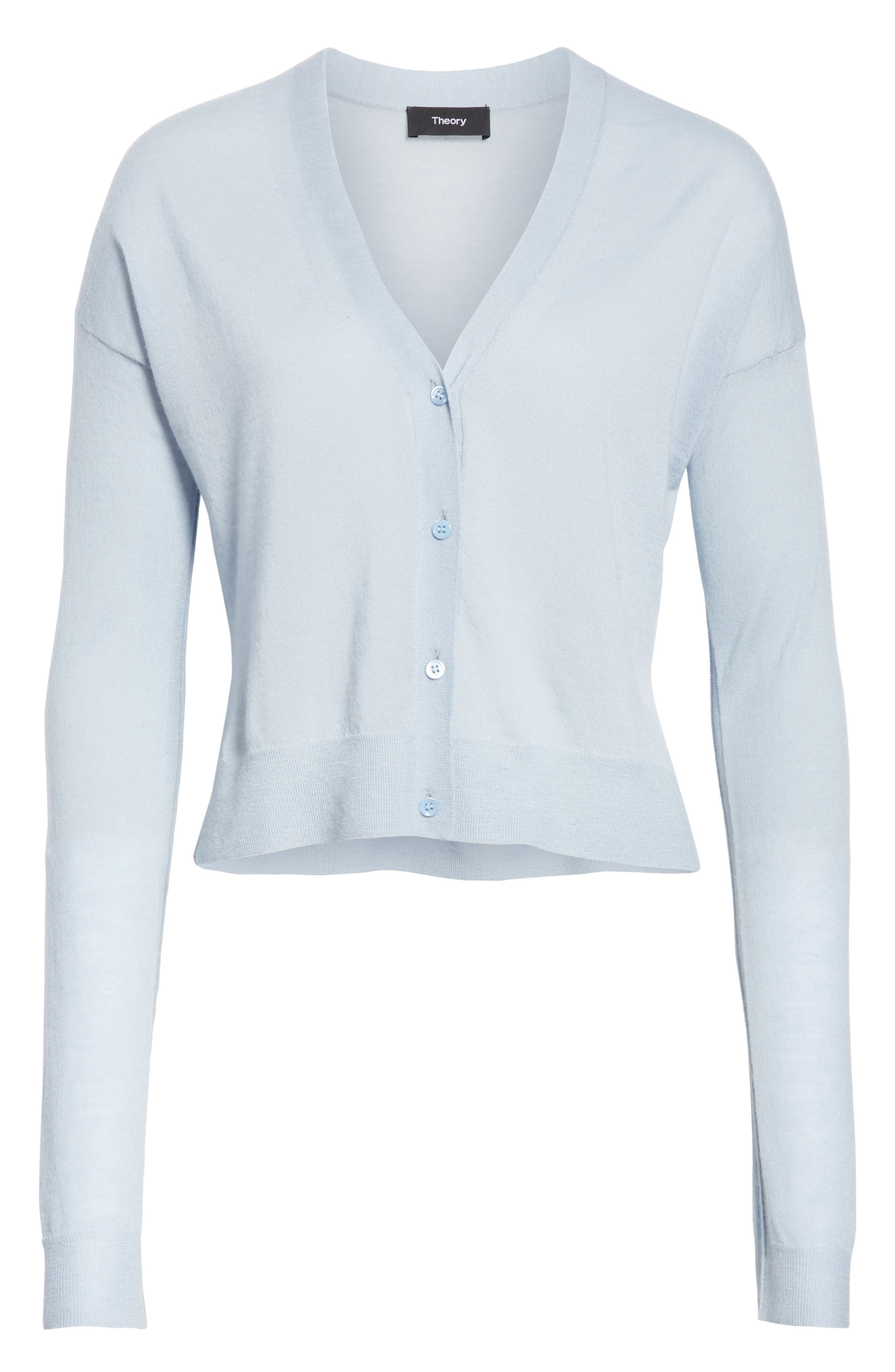 Hanelee Featherweight Cashmere Cardigan,                             Alternate thumbnail 6, color,                             Baby Bluebell