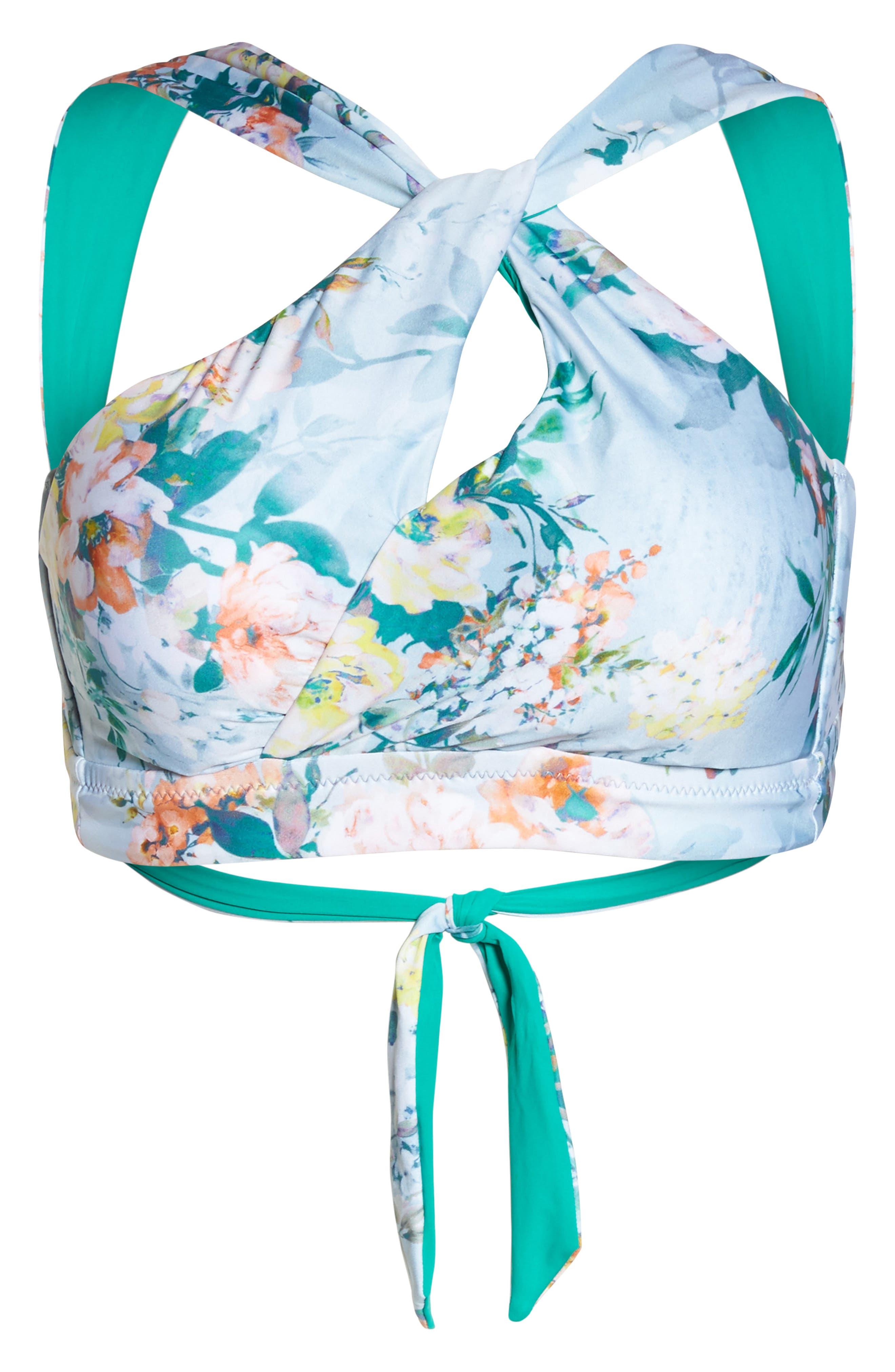 Femme Flora Bikini Top,                             Alternate thumbnail 6, color,                             Blue Multi