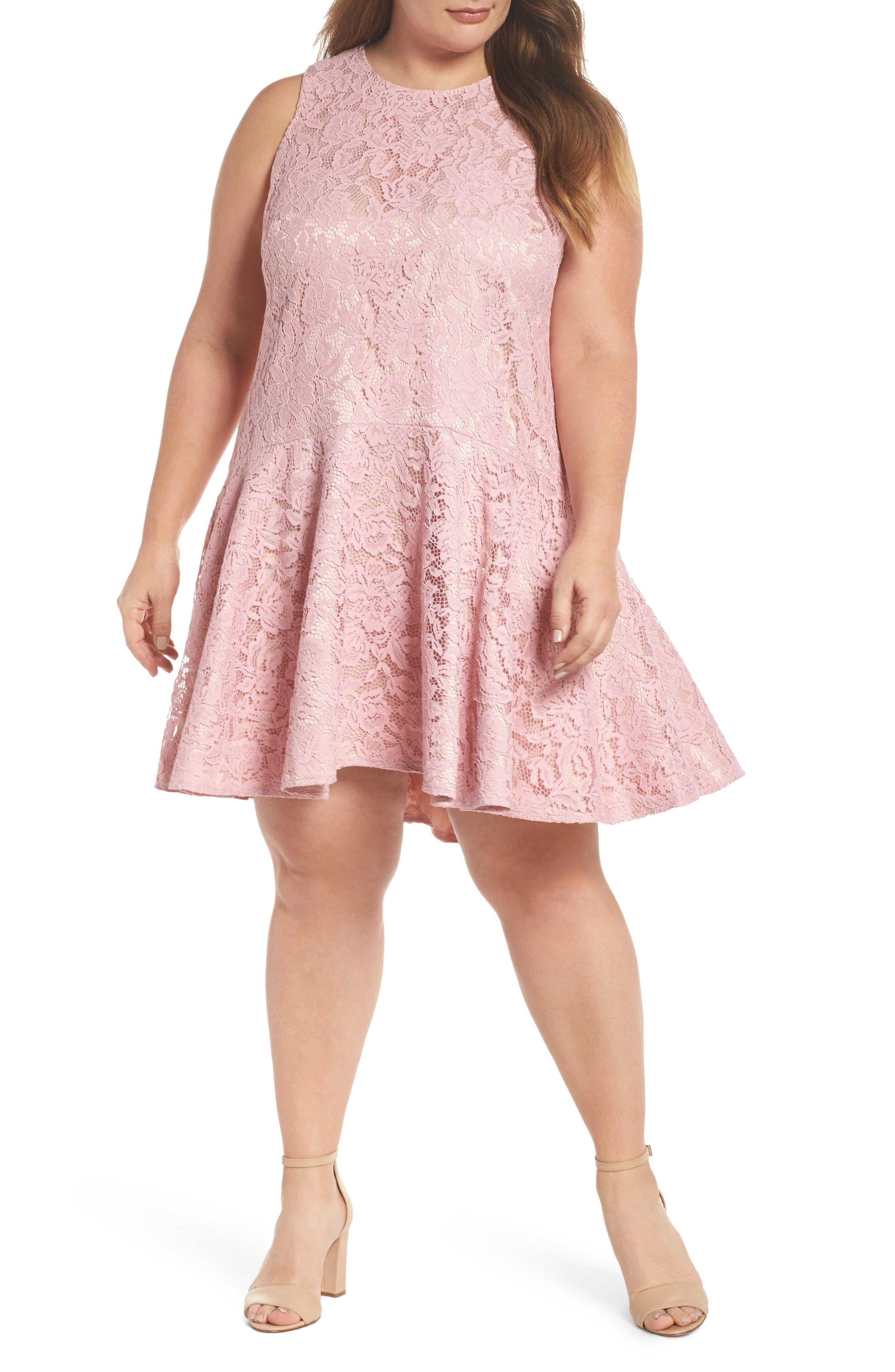 Lace Sleeveless Drop Waist Dress,                         Main,                         color, Blush